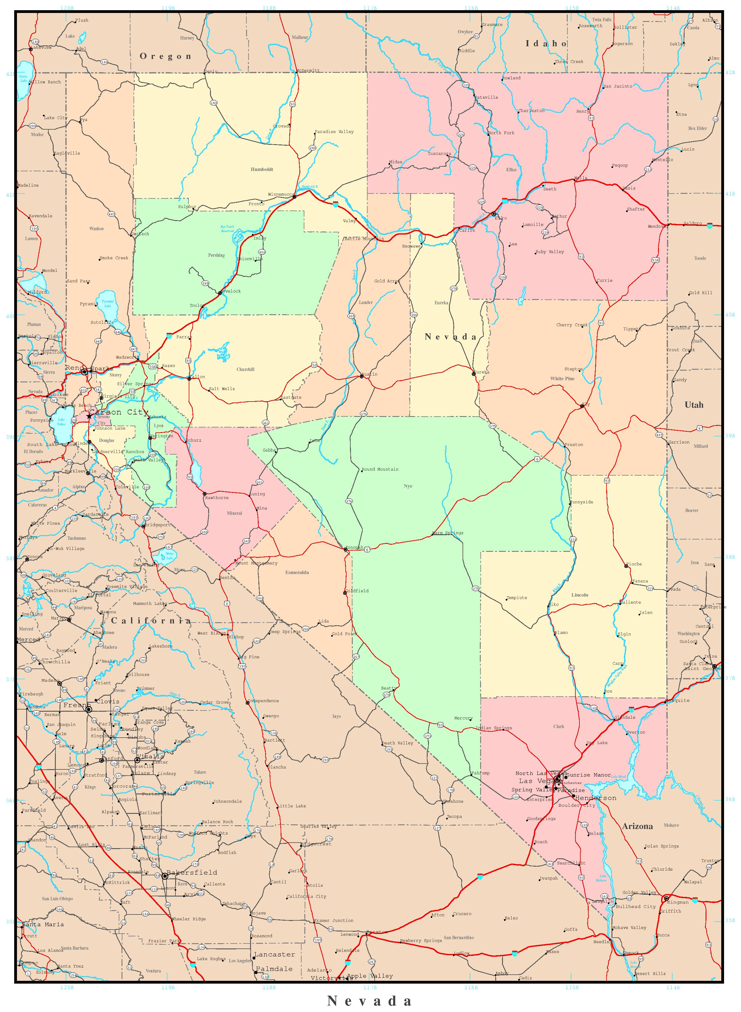 Nevada Political Map - Map of nv