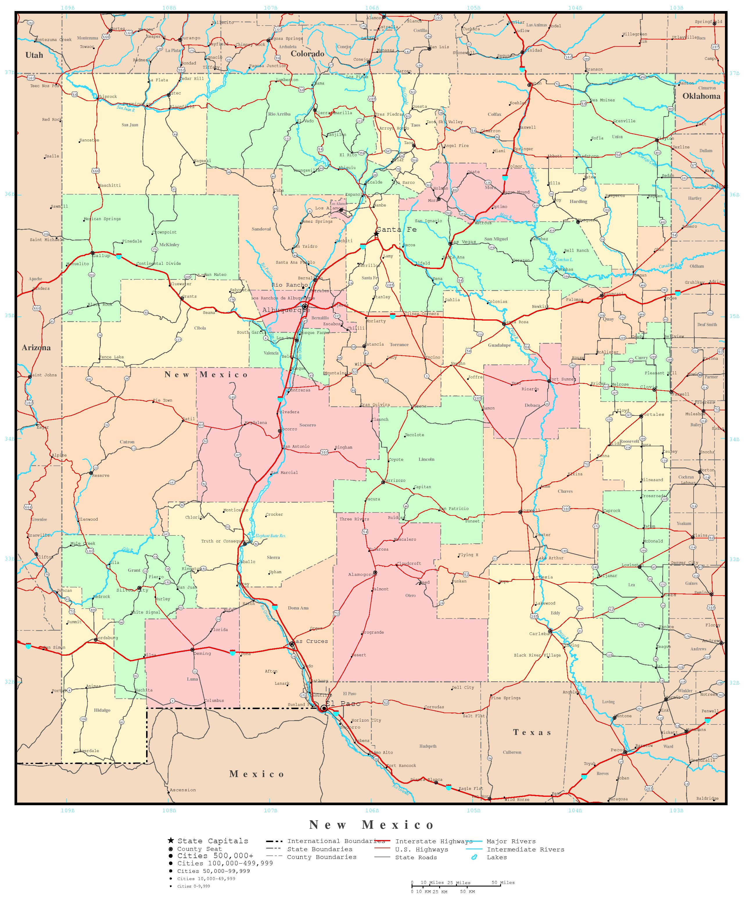 New Mexico Political Map - New mexico map with cities