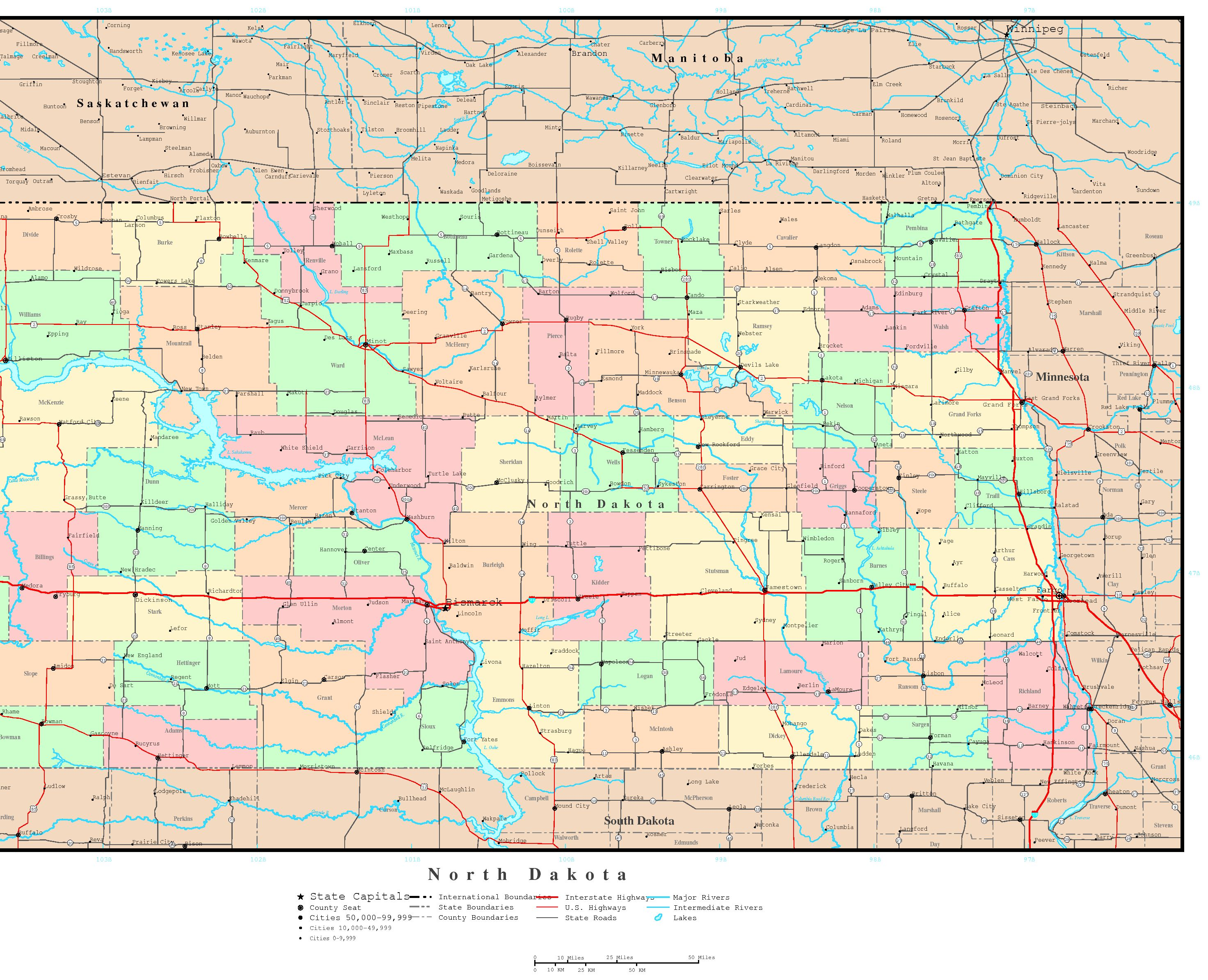 North Dakota Political Map - North dakota rivers map