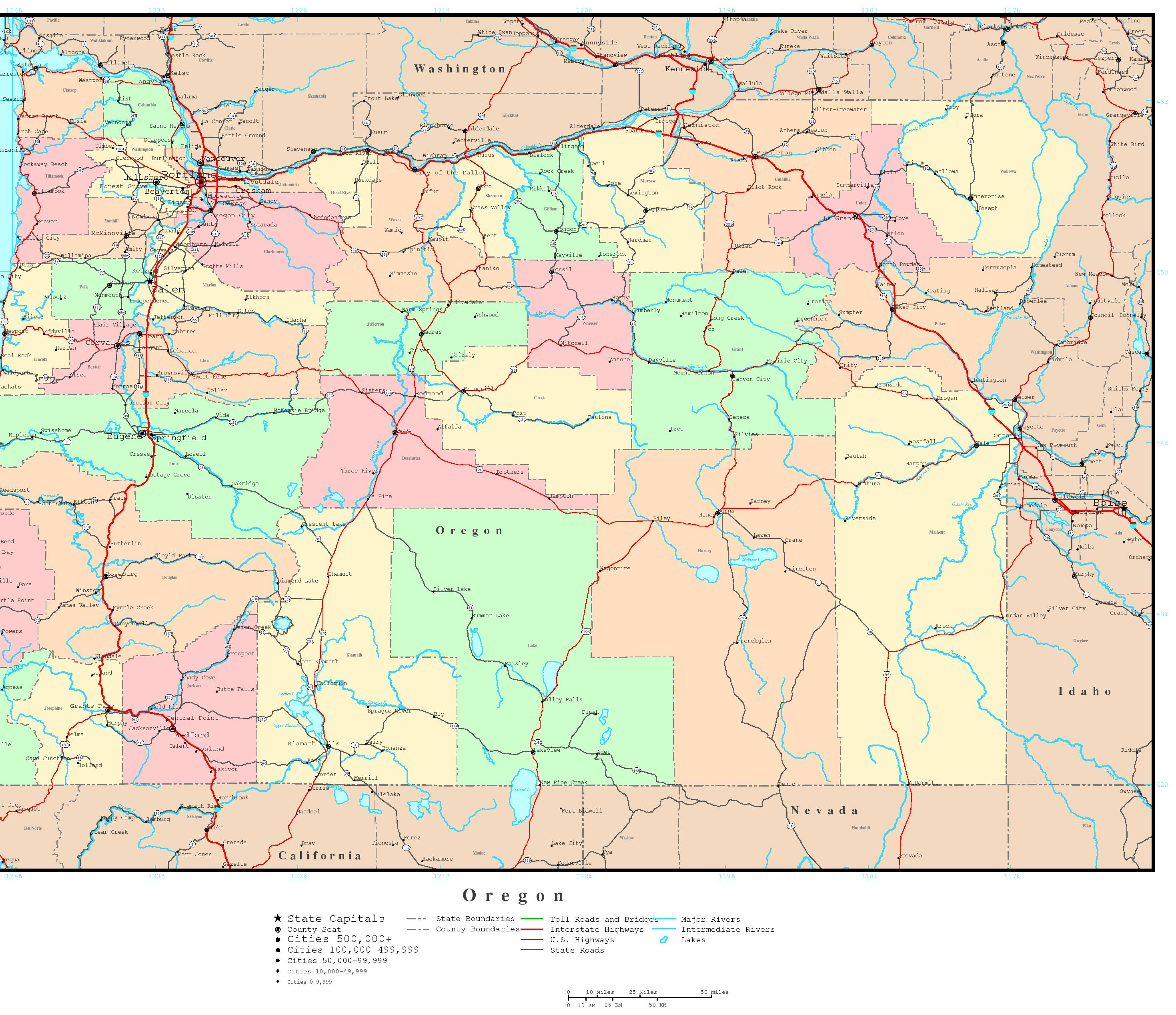 Oregon Political Map - Oregon county maps