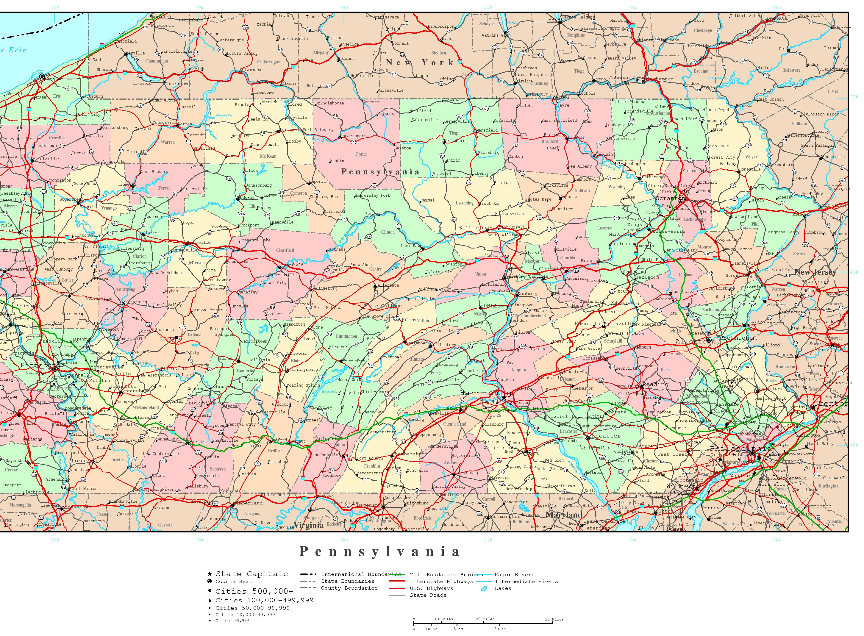 Pennsylvania Political Map - Pennyslvania map