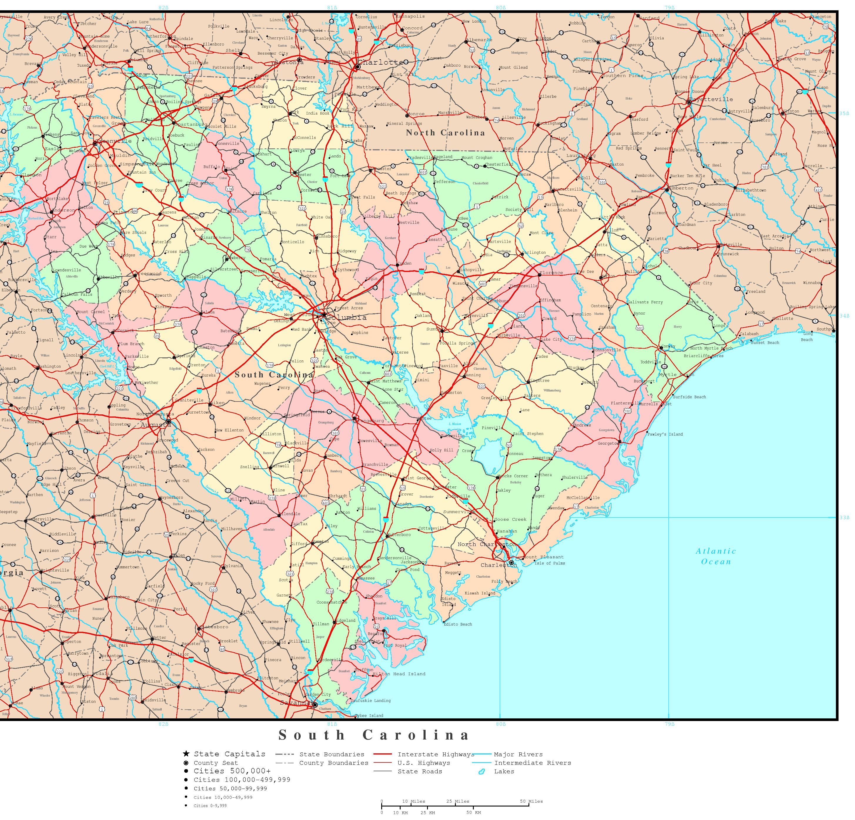 South Carolina Political Map - Road map of north and south carolina