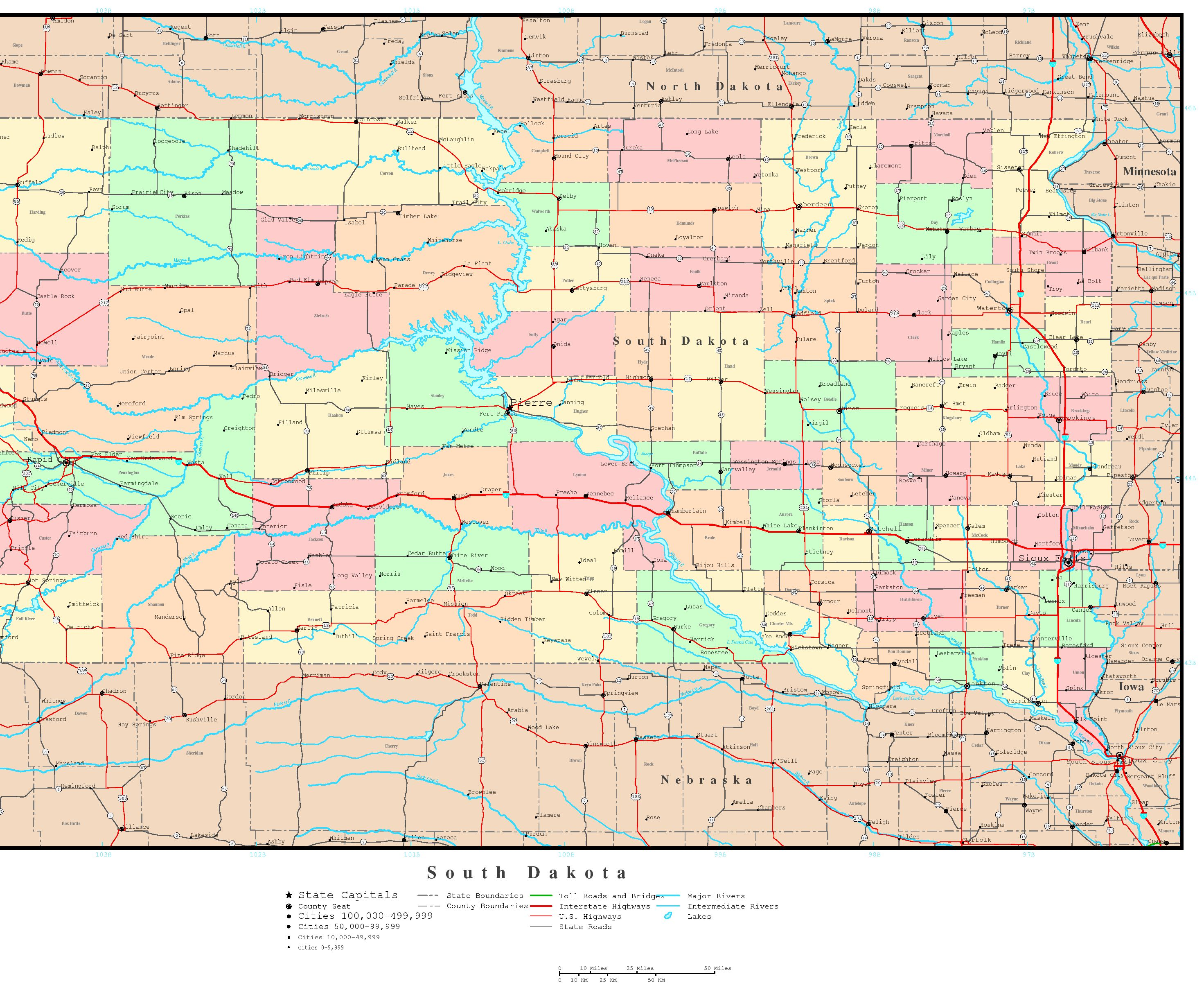 South Dakota Political Map - Map of sd