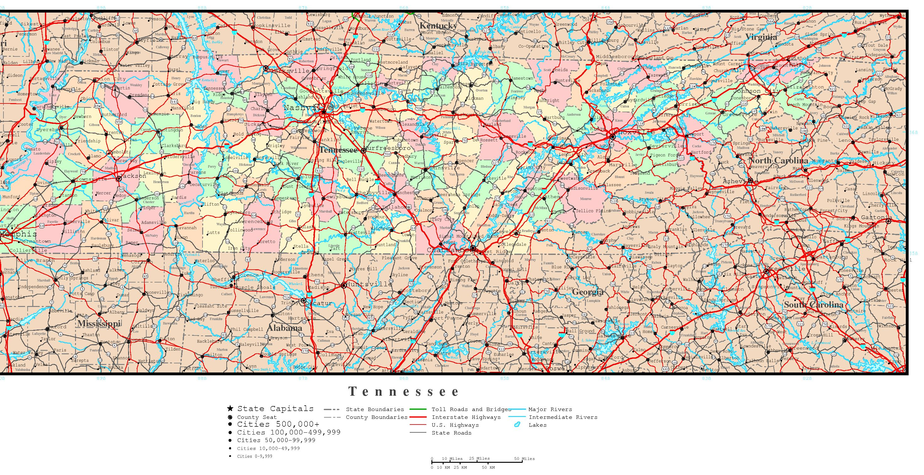 Tennessee Political Map - High resolution us road map