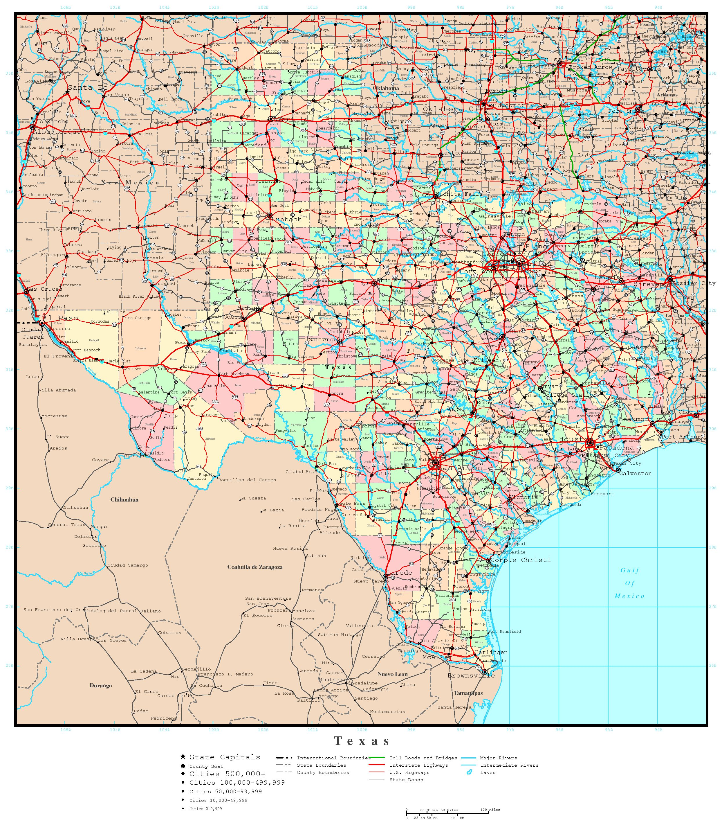 Texas Political Map - Maps of tx