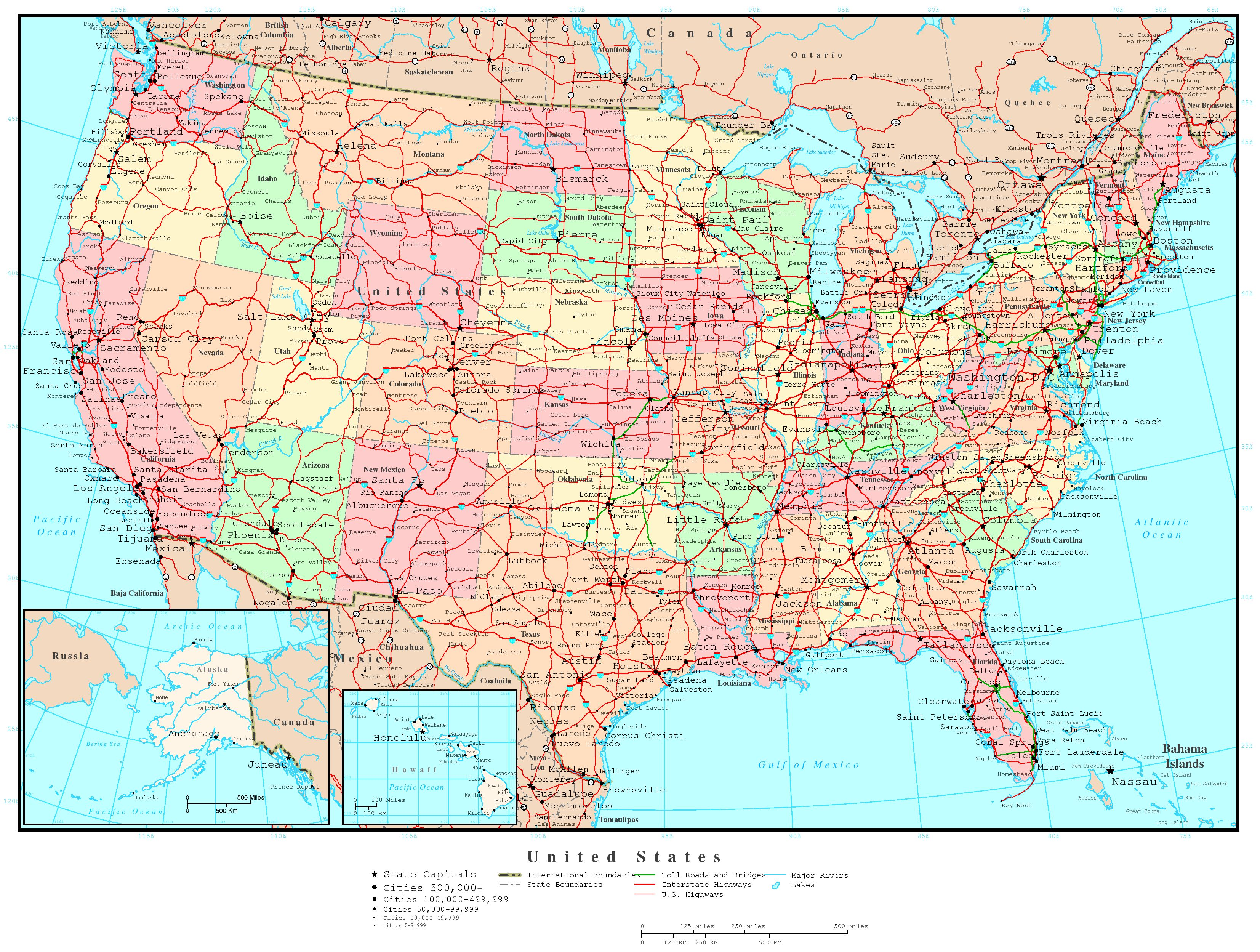 United States Political Map - A map of the united states of america
