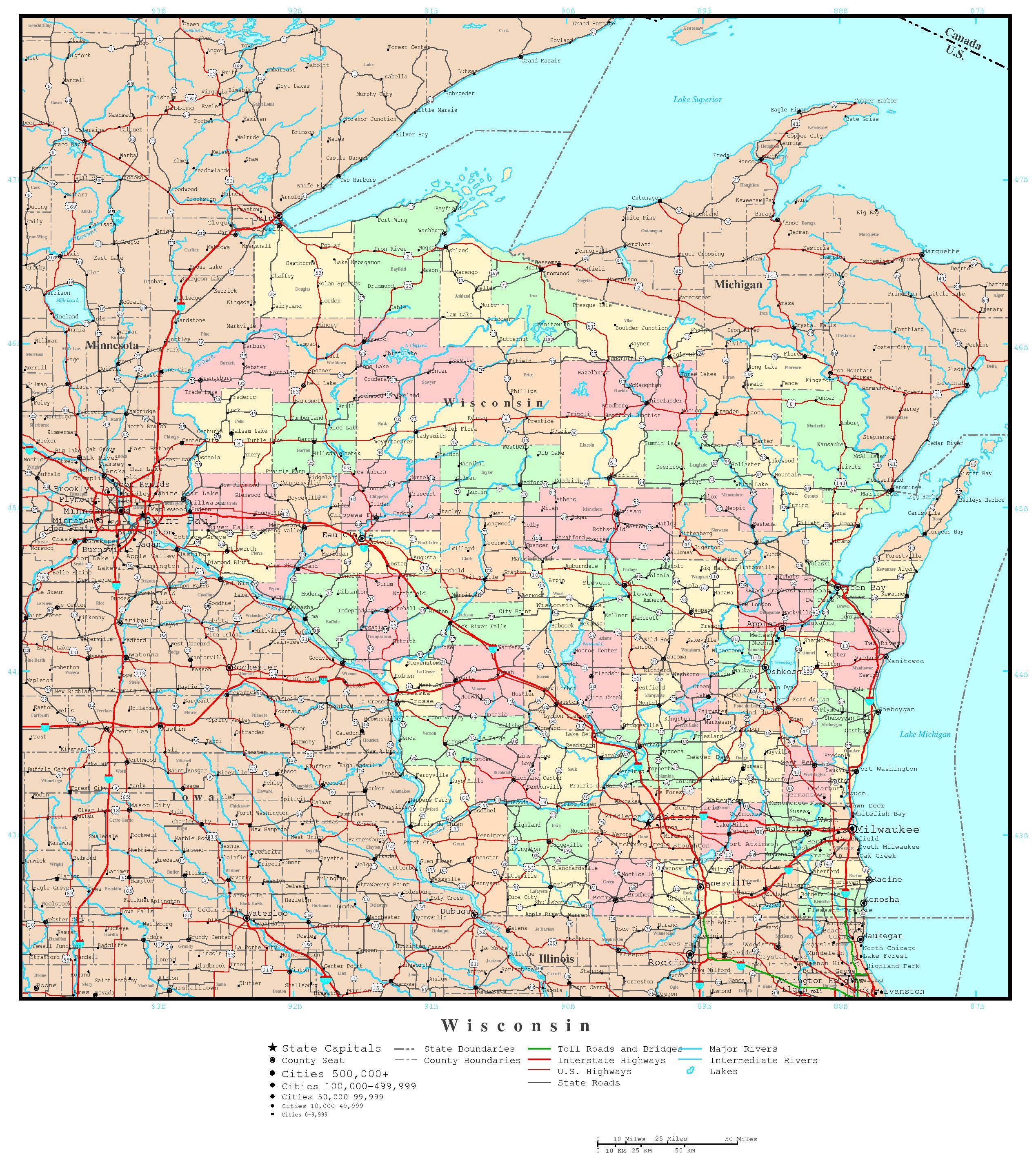 Wisconsin Political Map - High resolution us road map