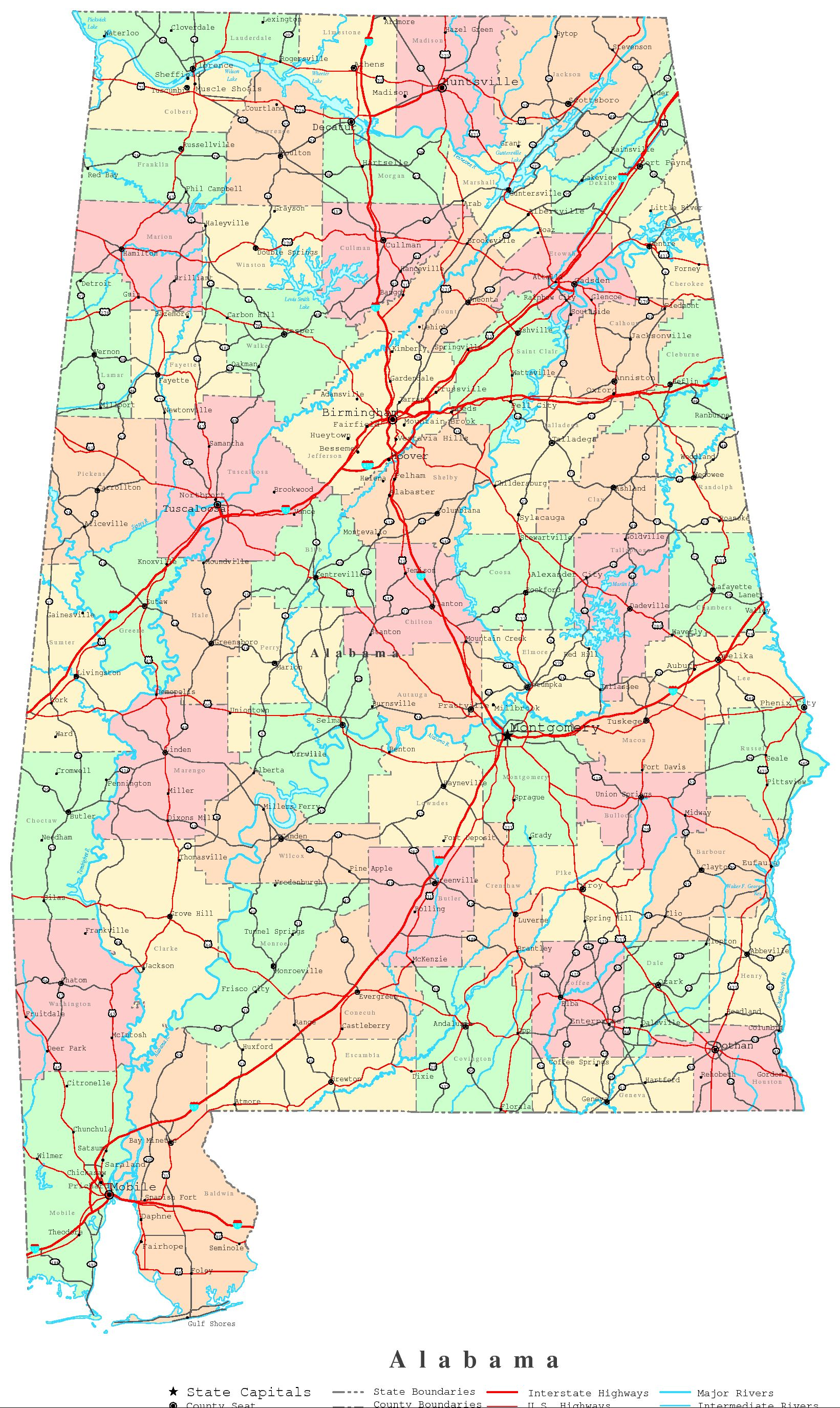 Alabama Printable Map - High resolution us road map