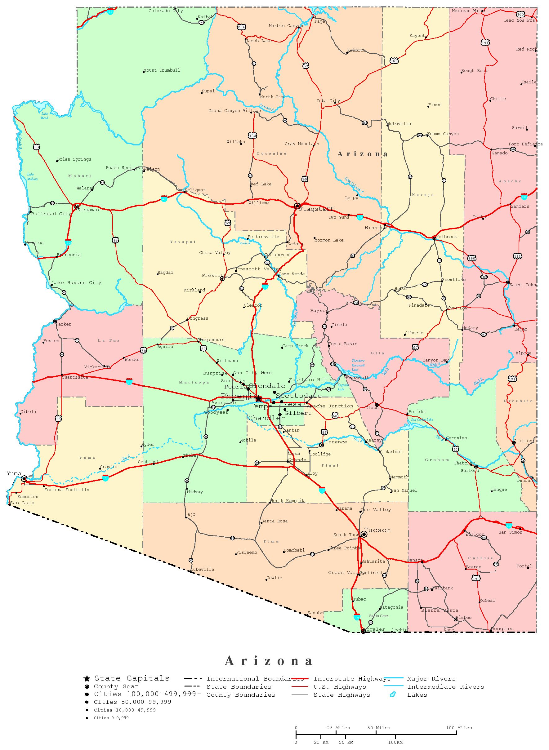 Arizona Printable Map - Map of arizona counties and cities