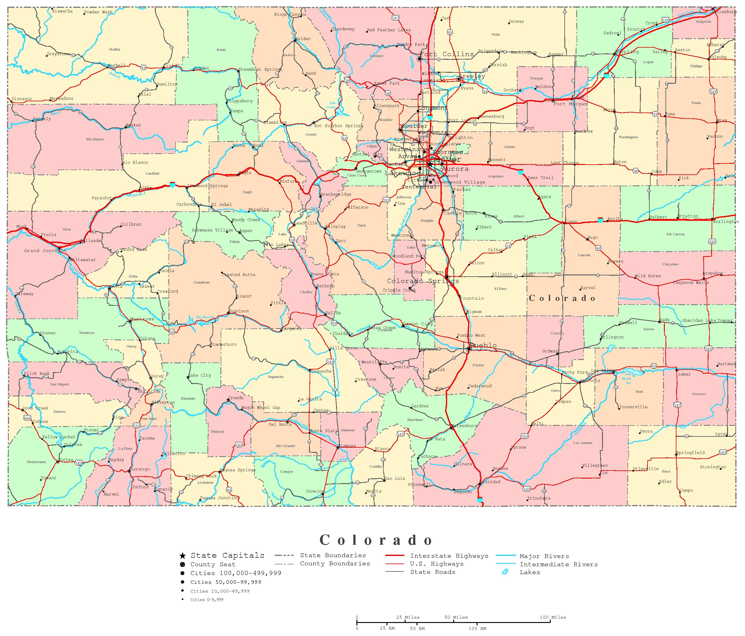Colorado Printable Map - State map of colorado with cities