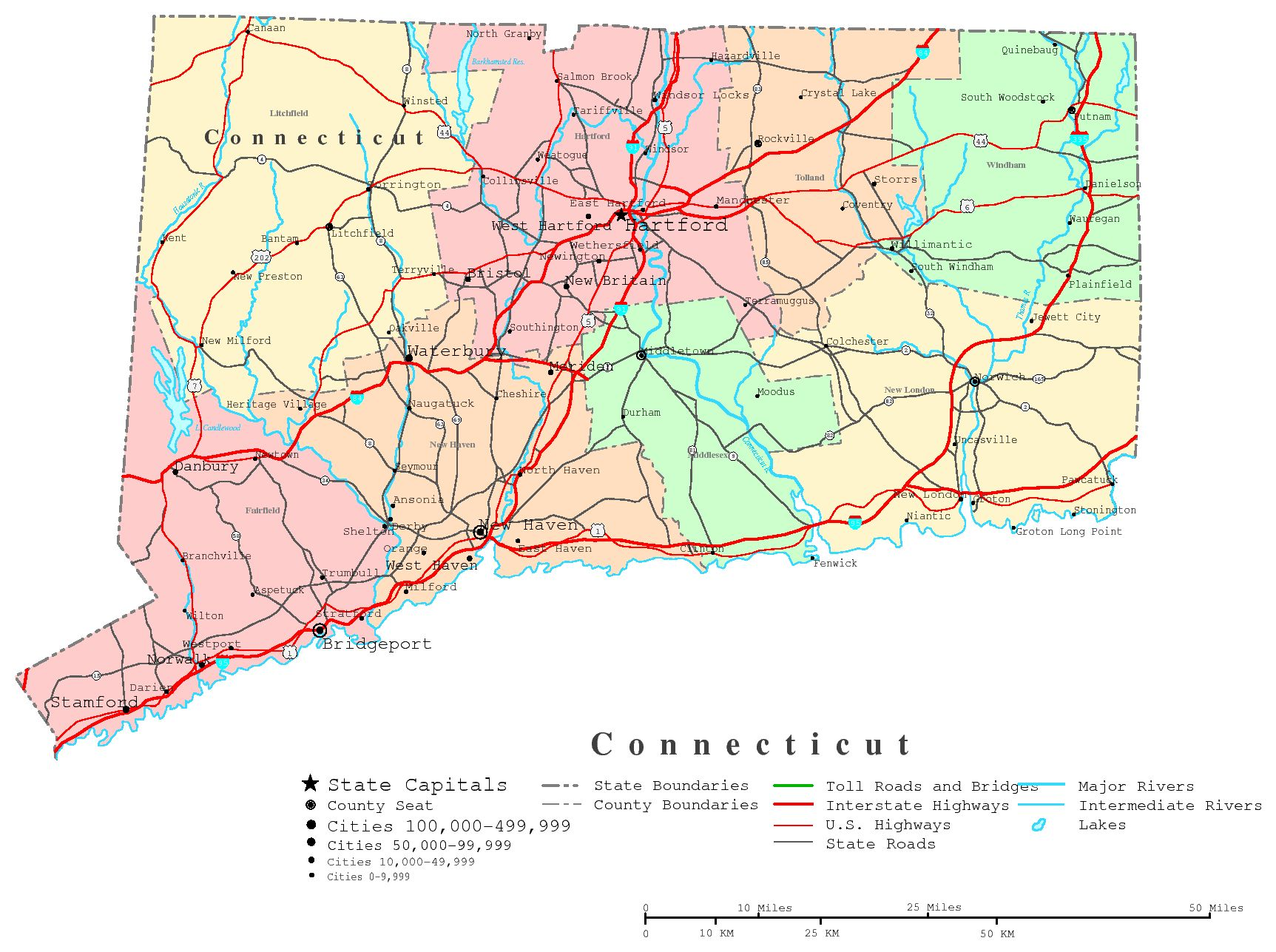 Connecticut Printable Map