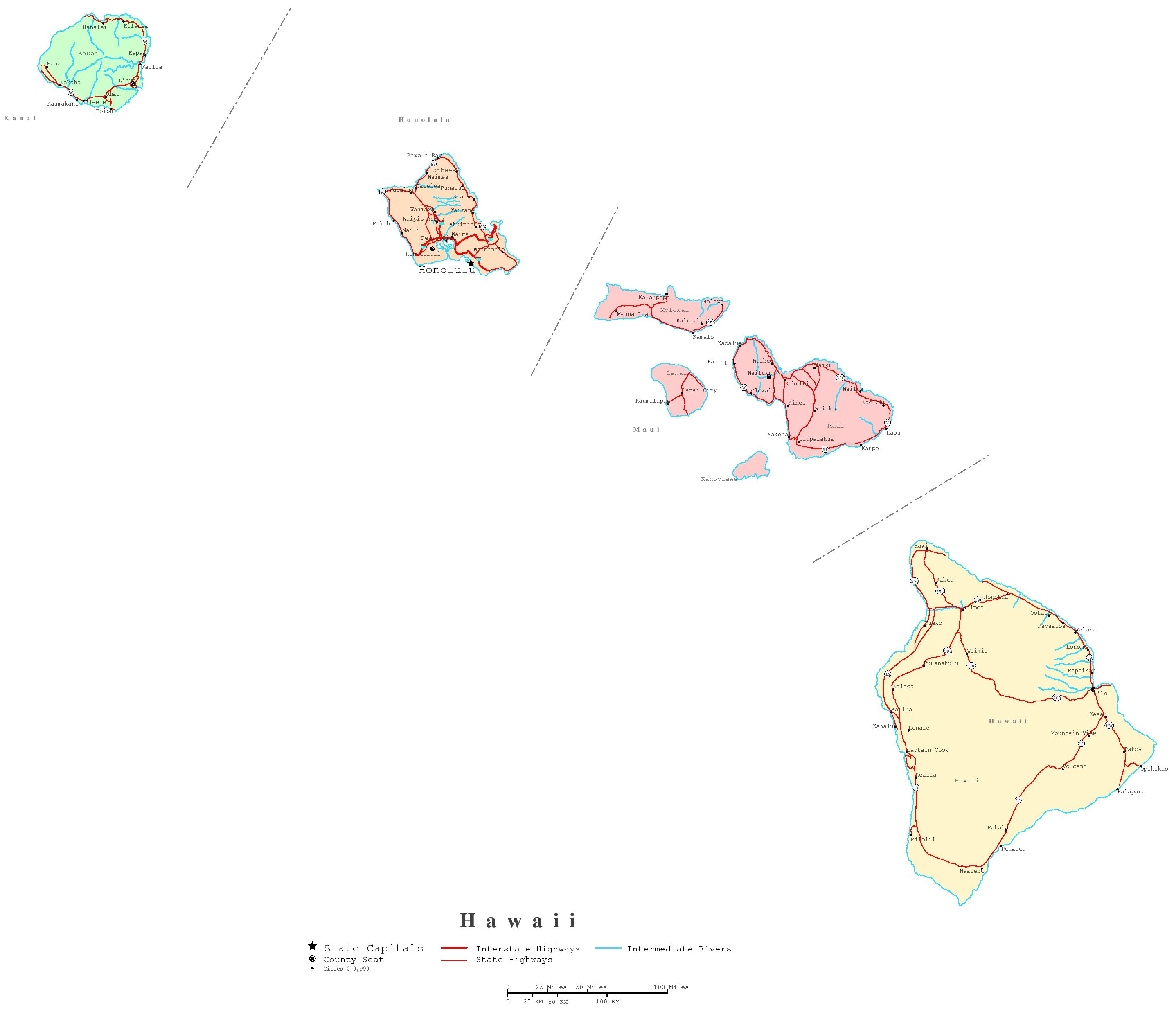 Hawaii Printable Map - Hawaii cities map