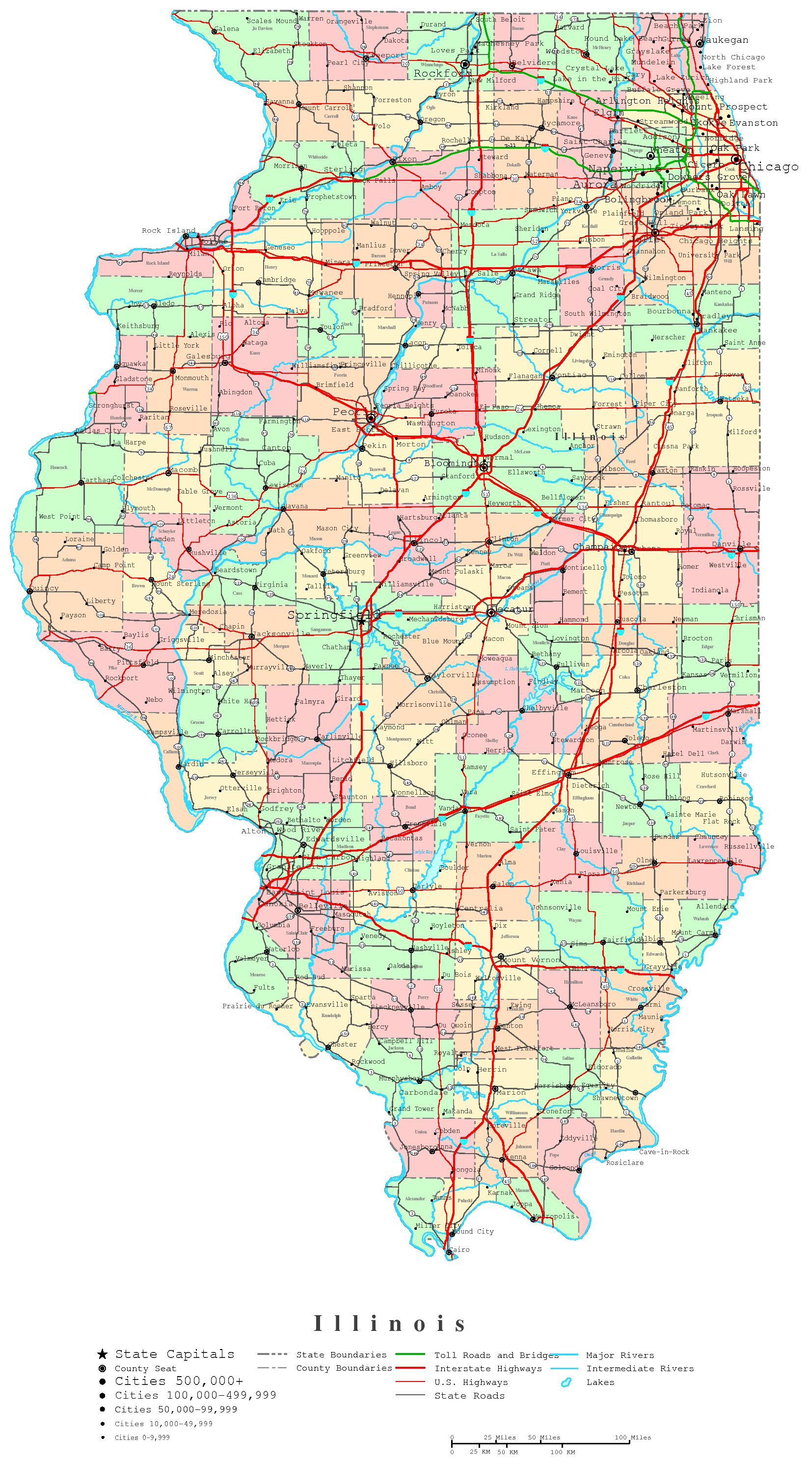 Illinois Printable Map - Us map chicago illinois