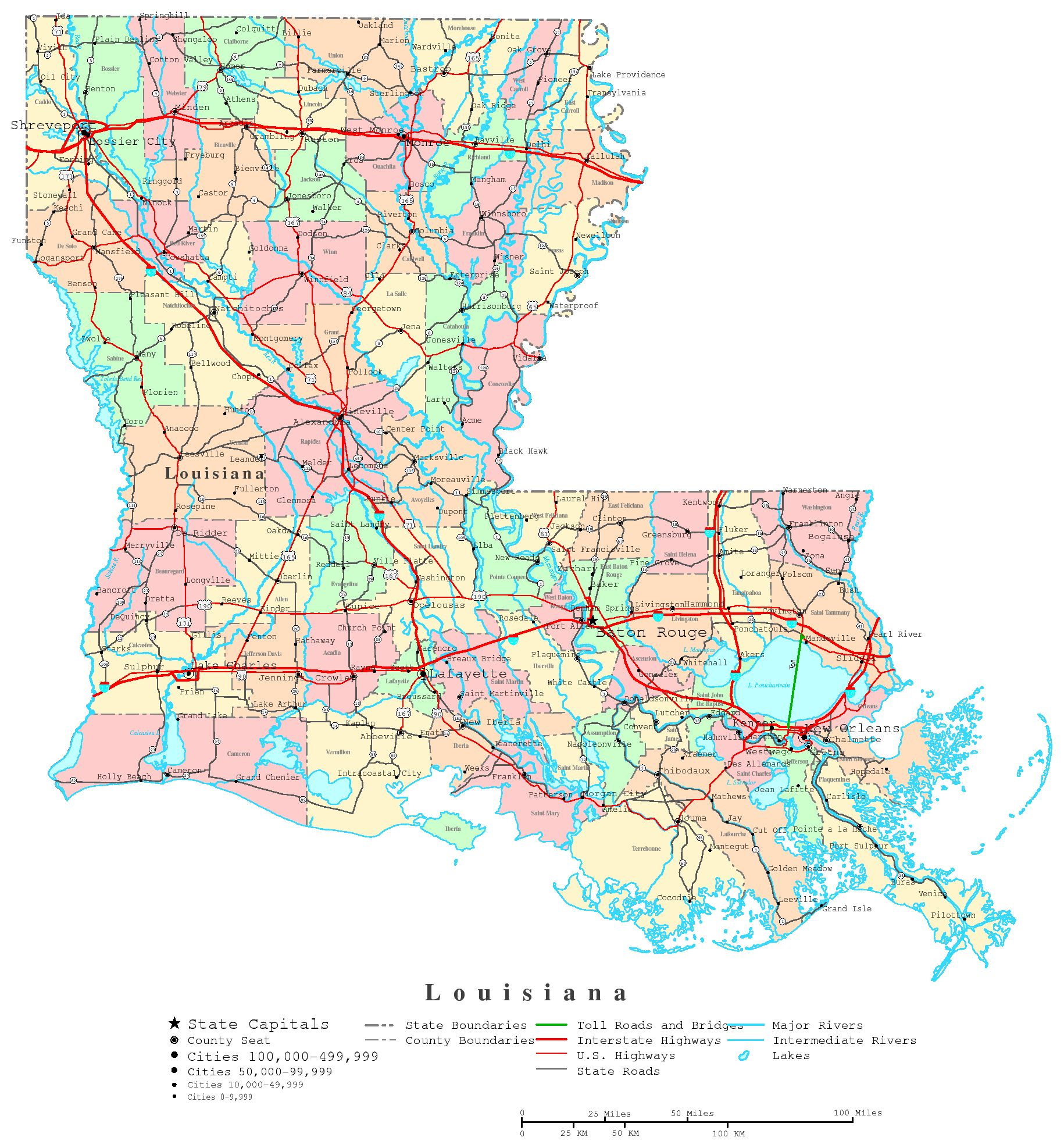 Map Of The State Of Louisiana With Cities MAP - Louisiana on us map