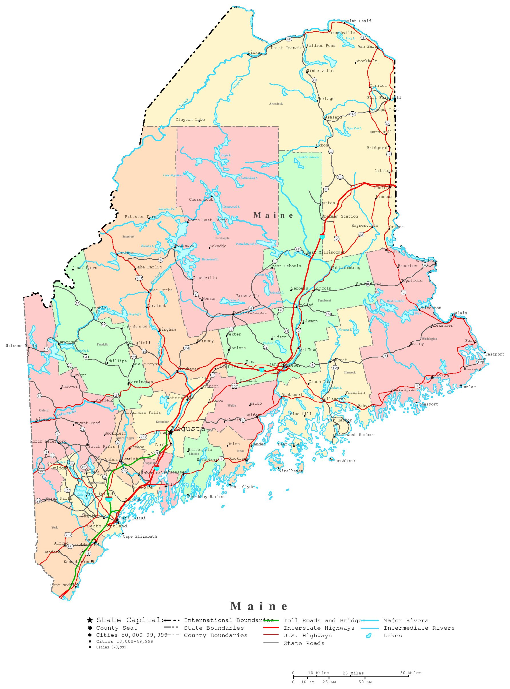 Maine Printable Map - State of maine map