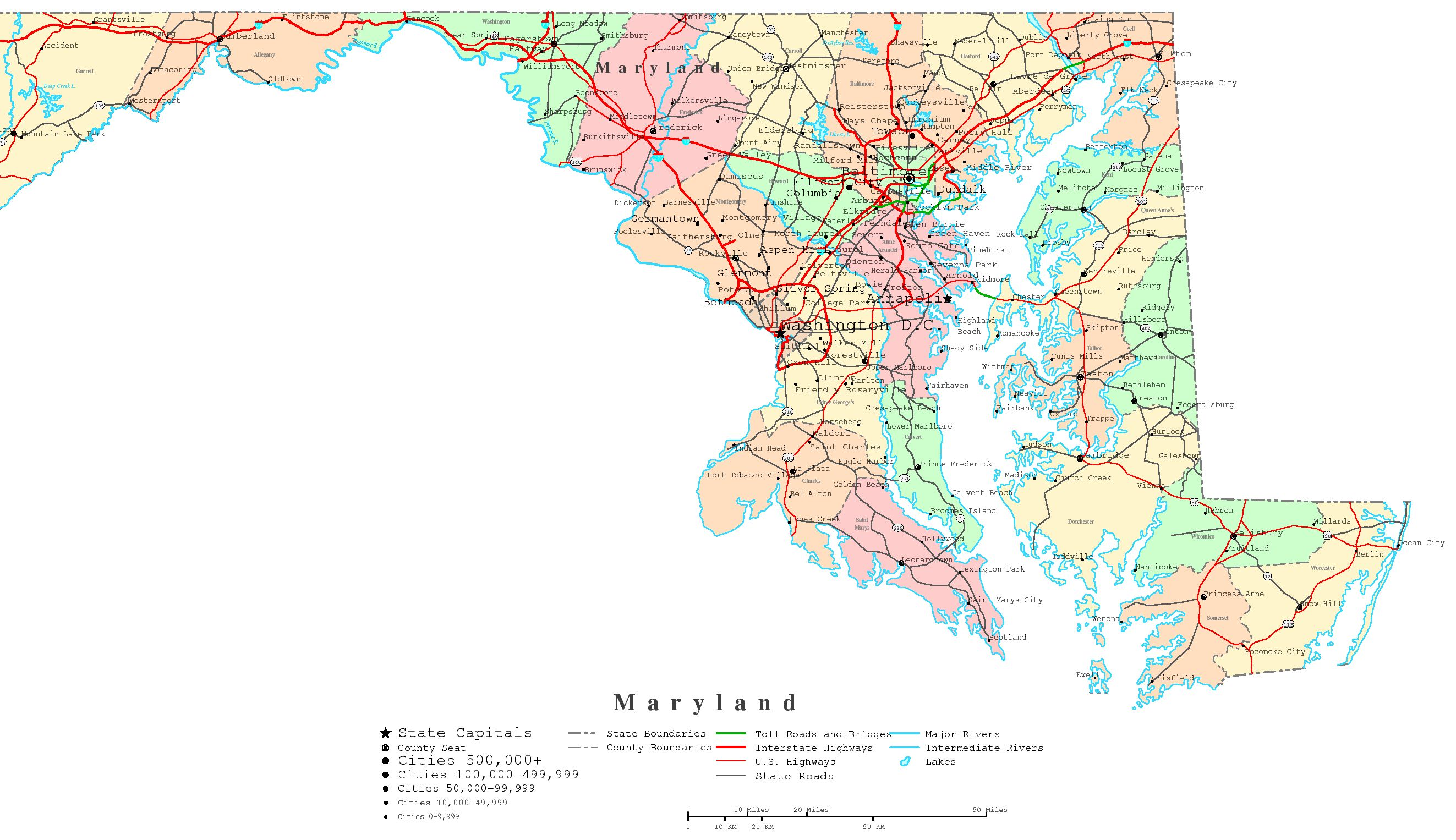 Maryland Printable Map - Maryland printable map