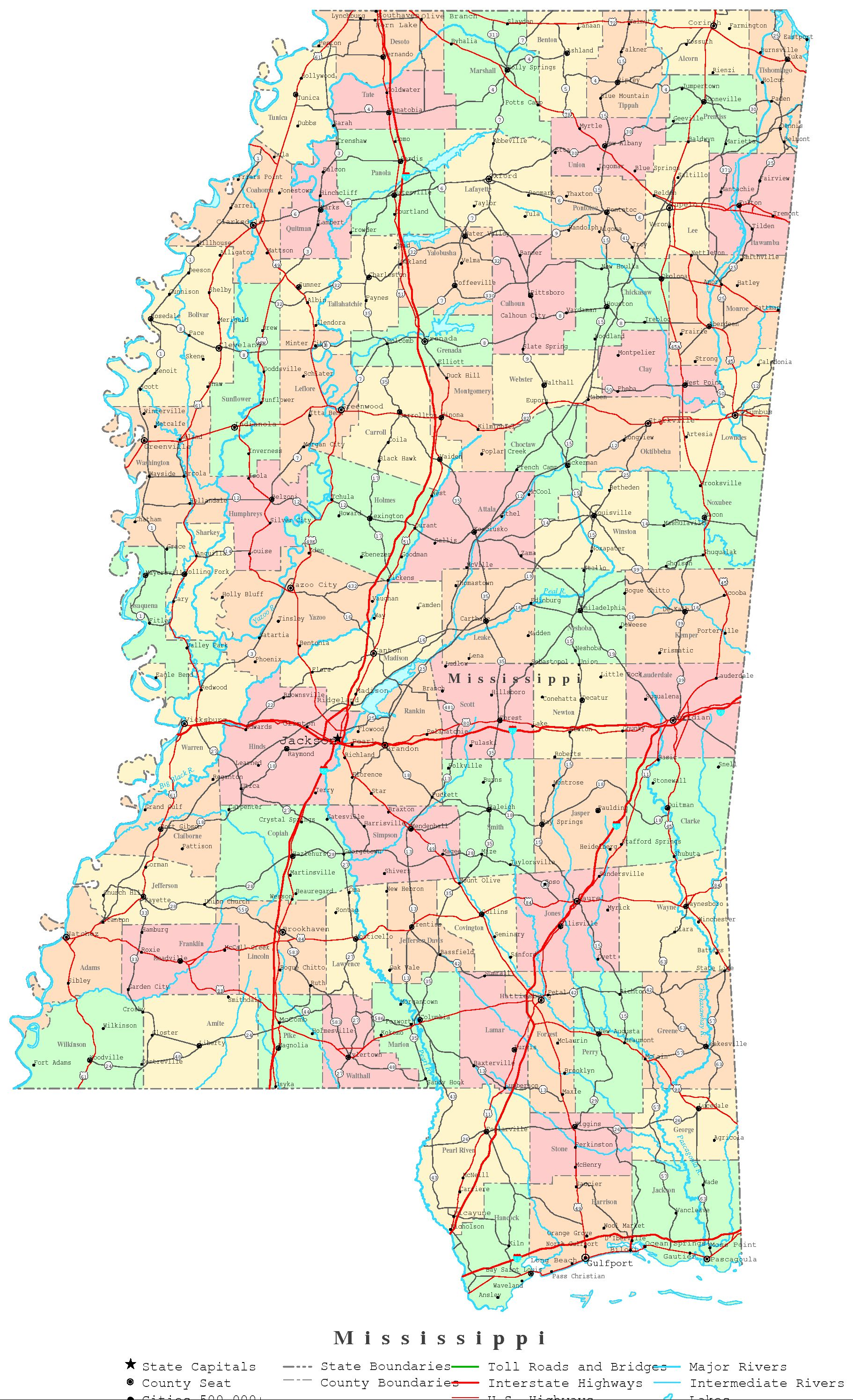 Mississippi Printable Map - Maps mississippi