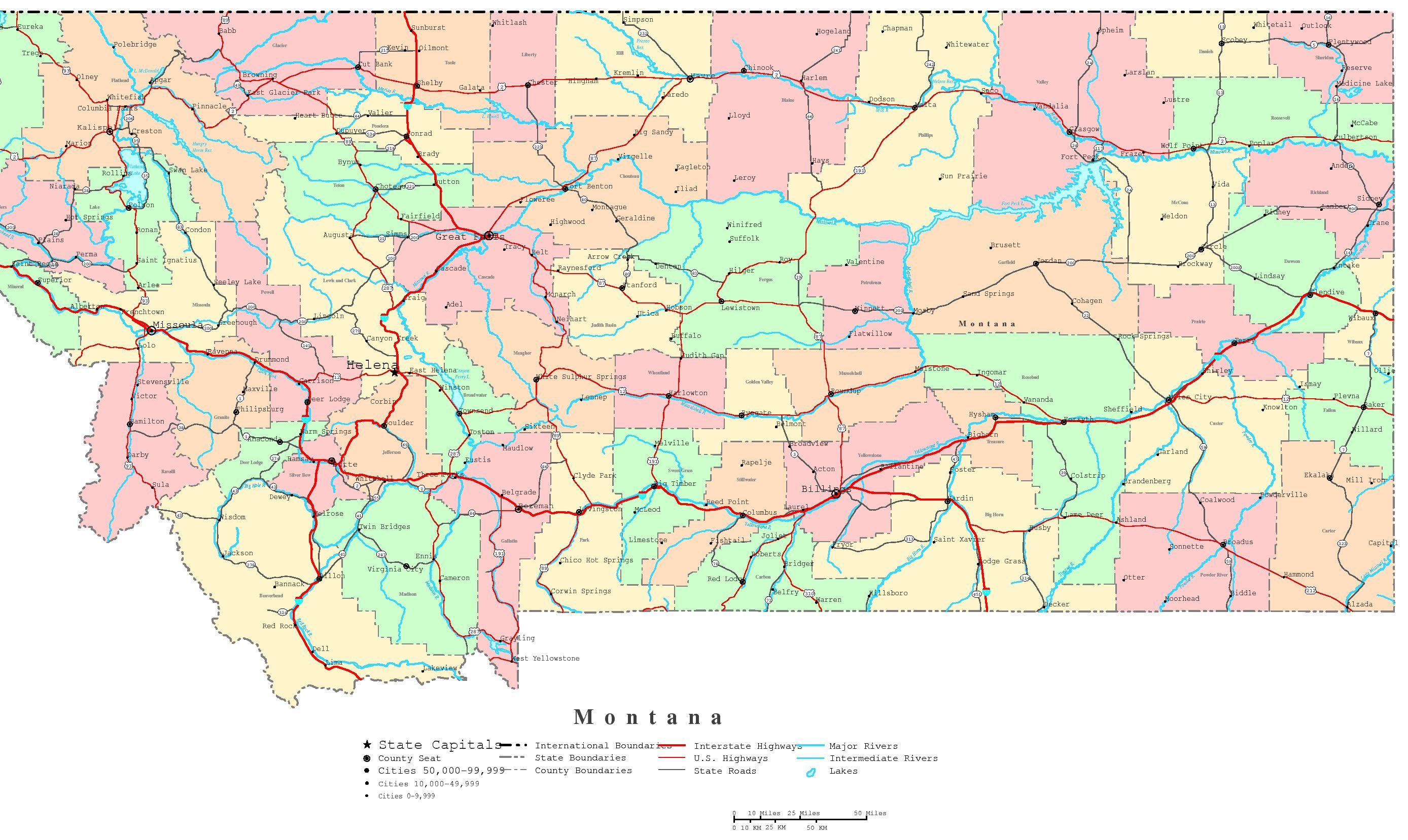 Map Of Montana Road Map Of Montana With Cities Montana County Map