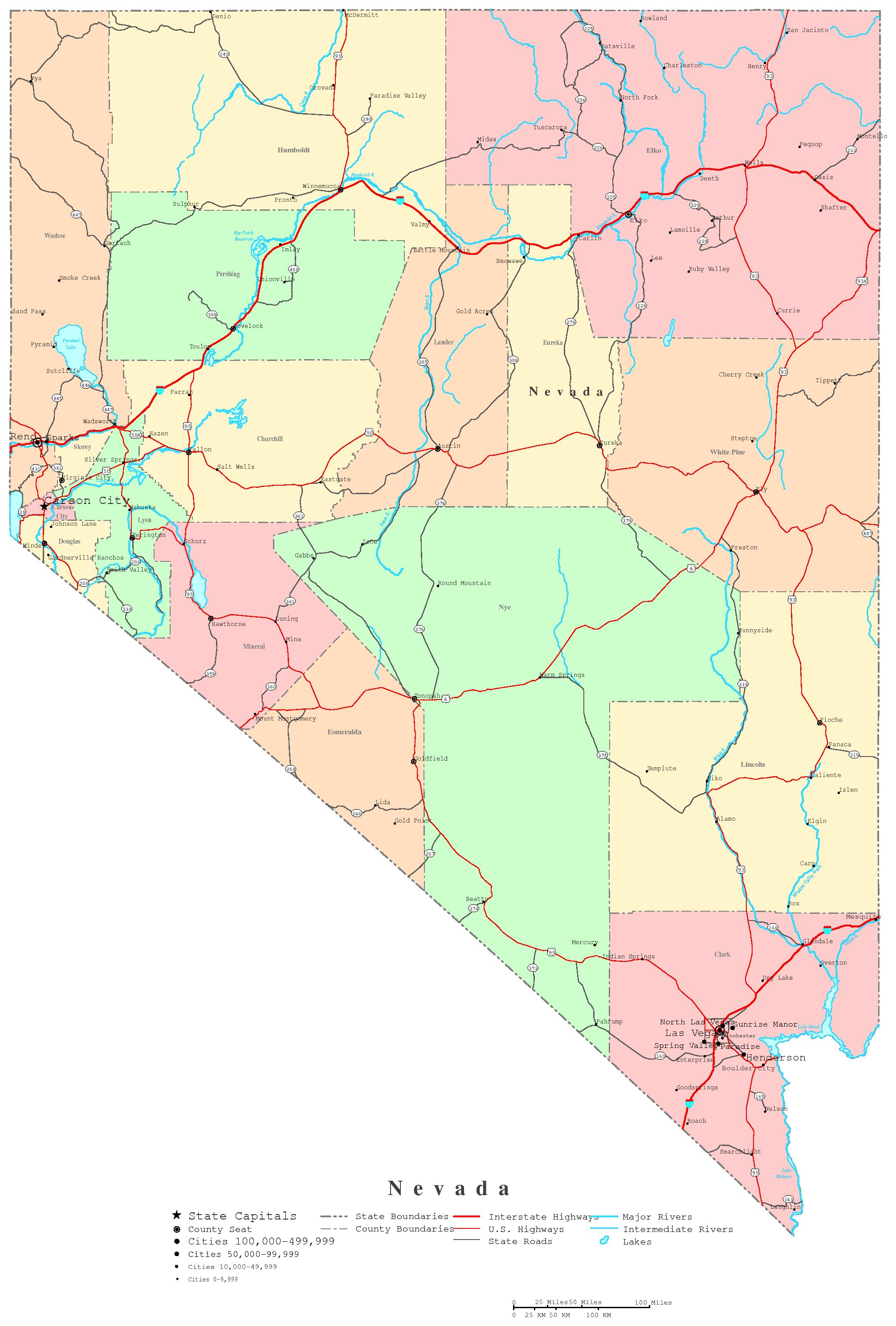 nevada printable map - hover to zoom
