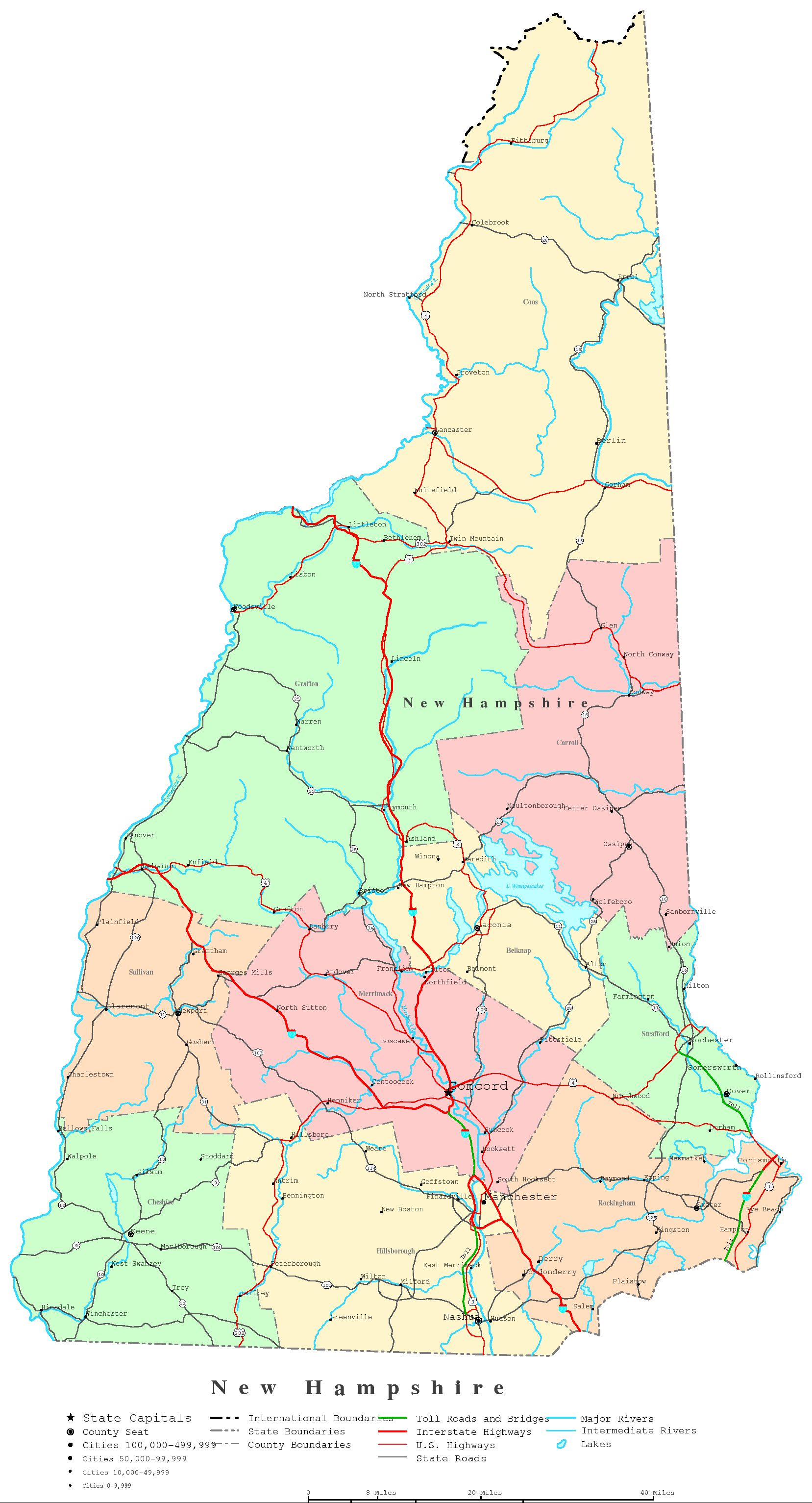 New Hampshire Printable Map - New hampshire city map