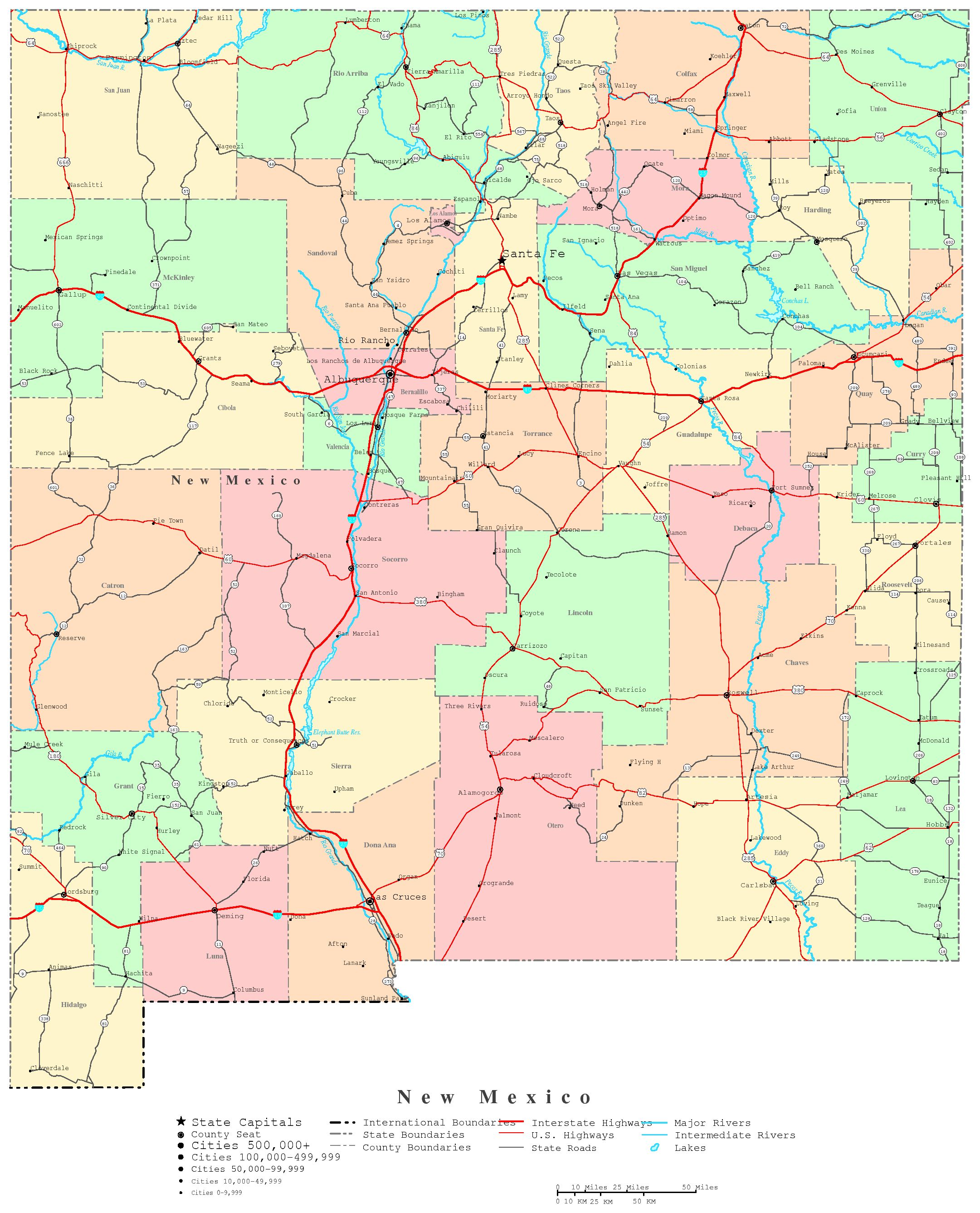 New Mexico Printable Map - Maps of new mexico