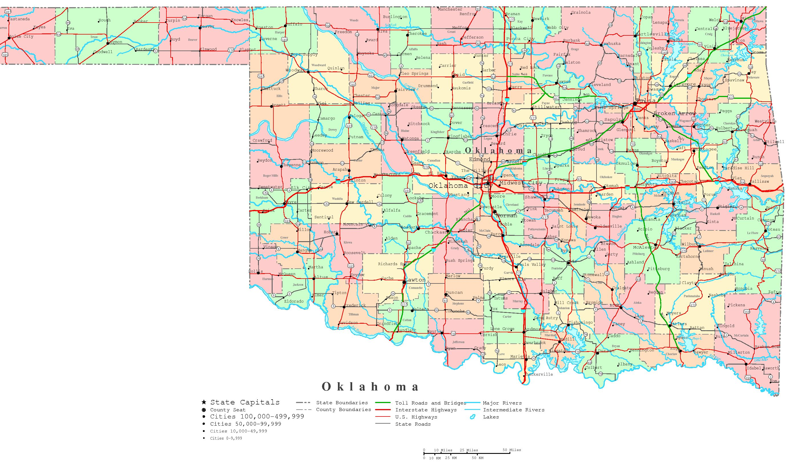 Oklahoma Map With Cities Oklahoma Printable Map