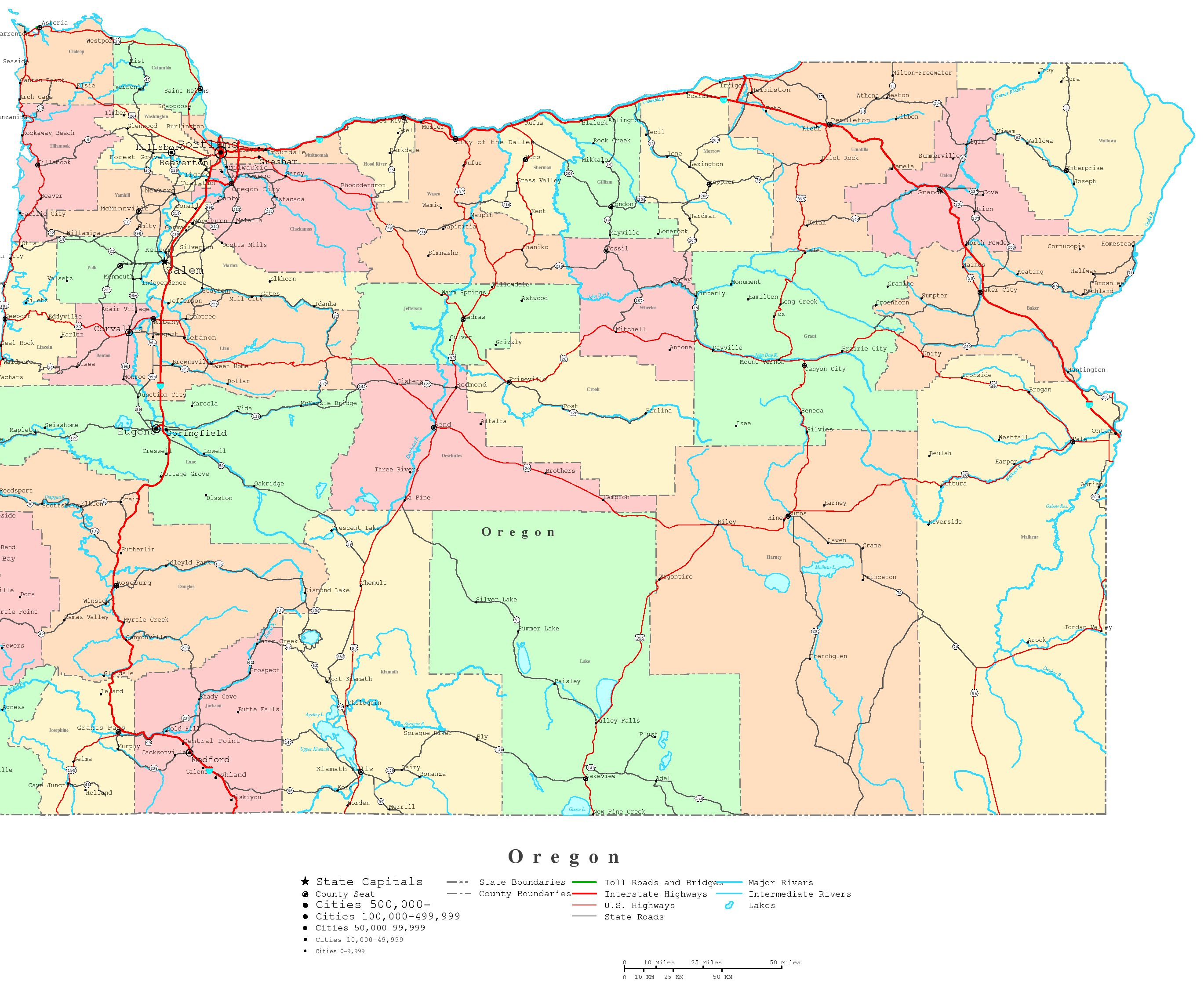 Oregon Printable Map - Map oregon cities
