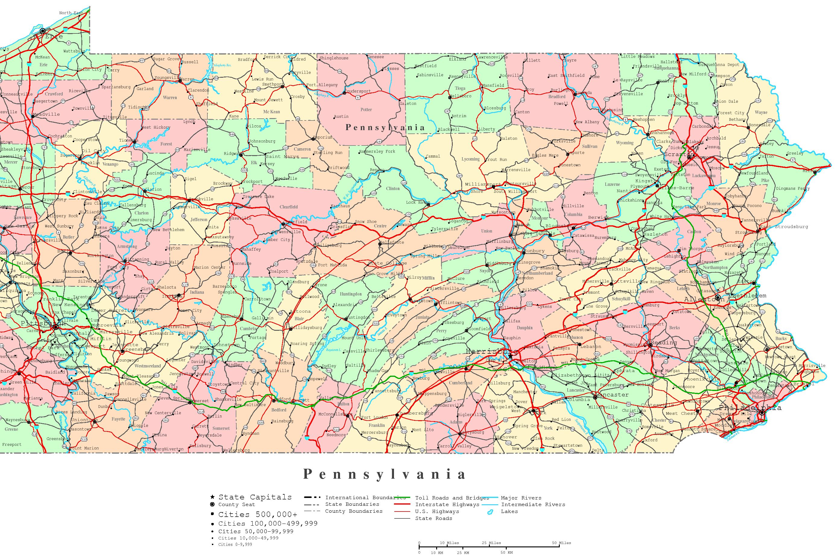 Pennsylvania Printable Map - Pennyslvania map