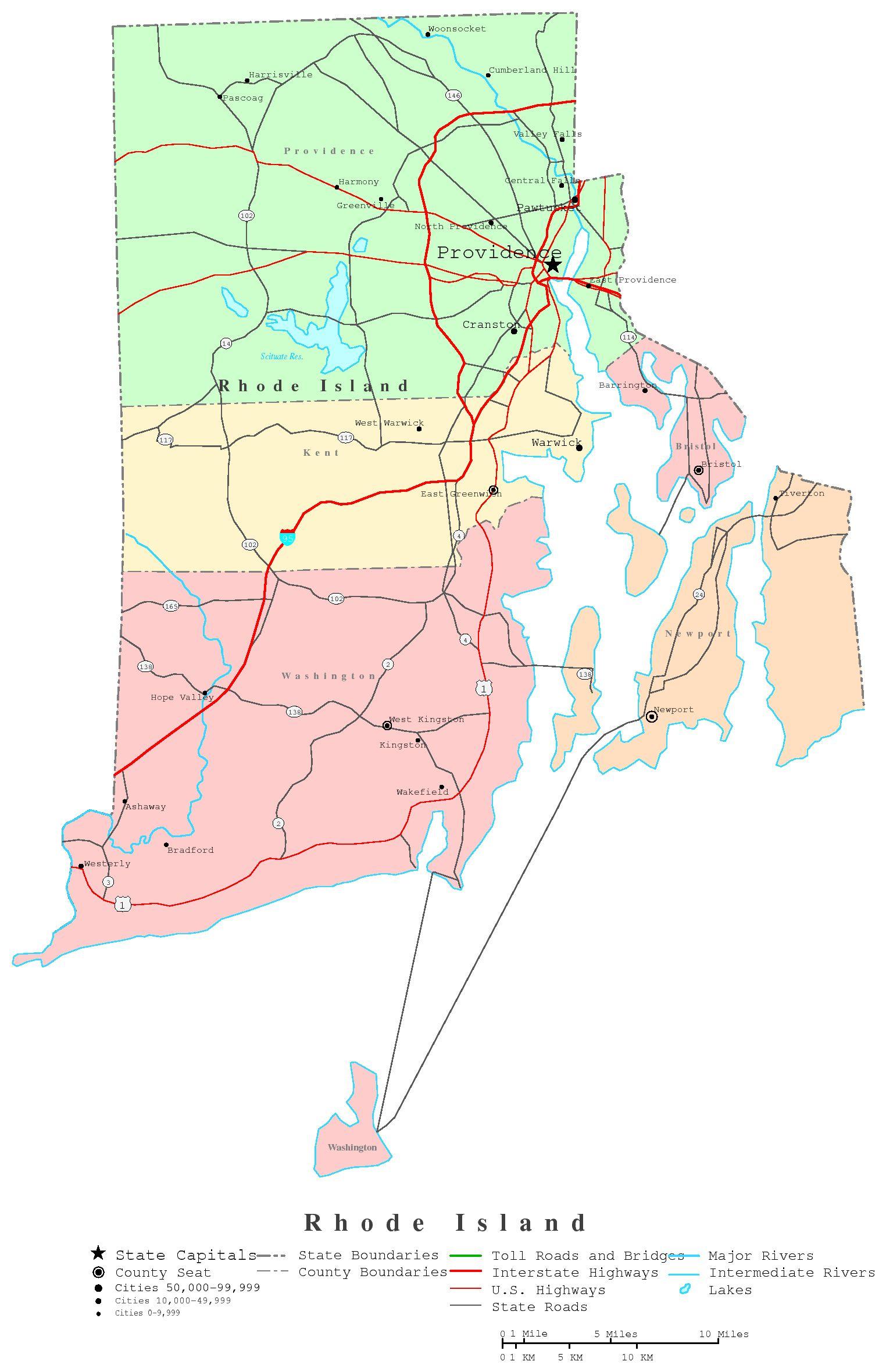 Rhode Island Printable Map - Map of ri