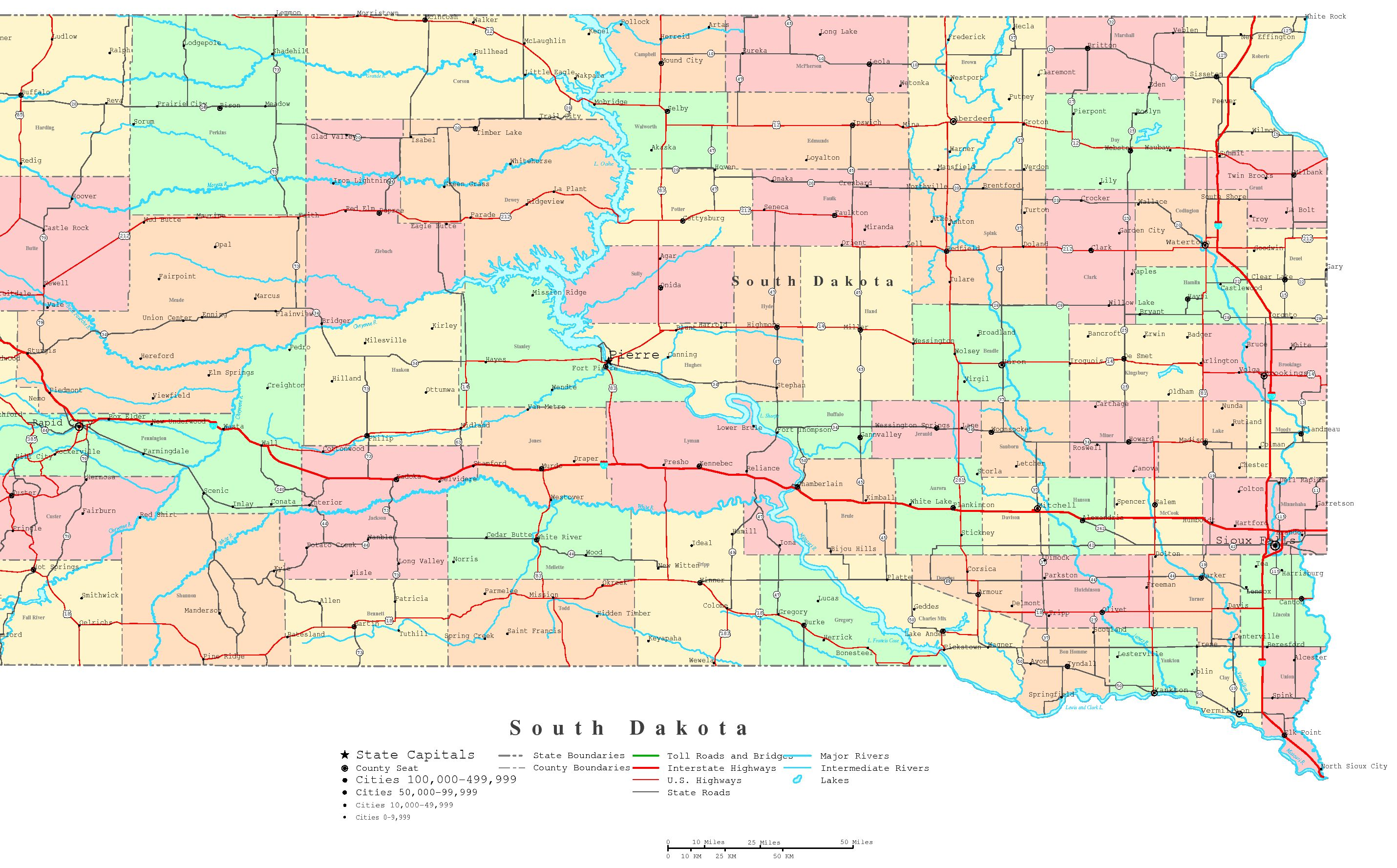 South Dakota Printable Map - Political map of south dakota