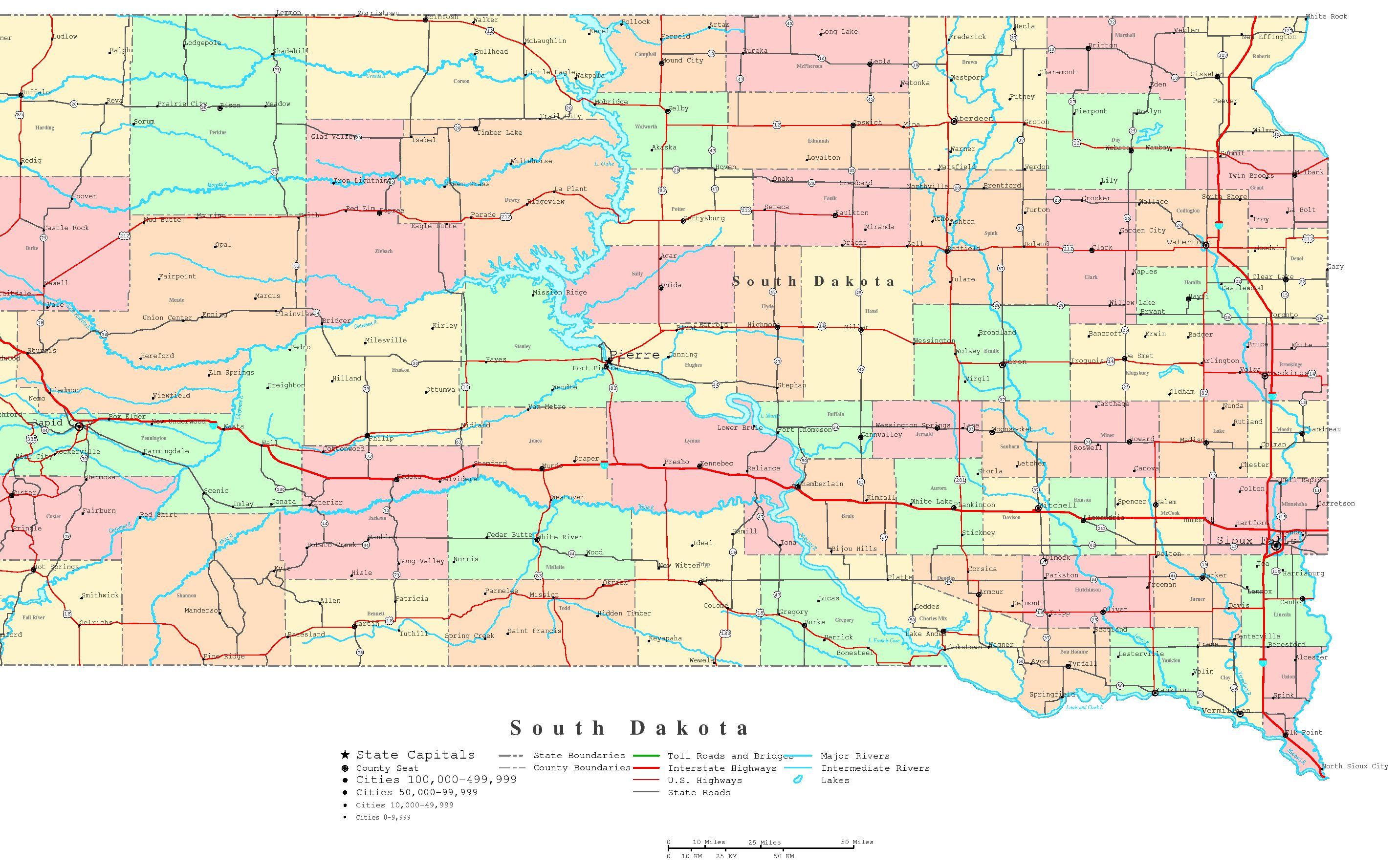 South Dakota Map With Cities South Dakota Printable Map