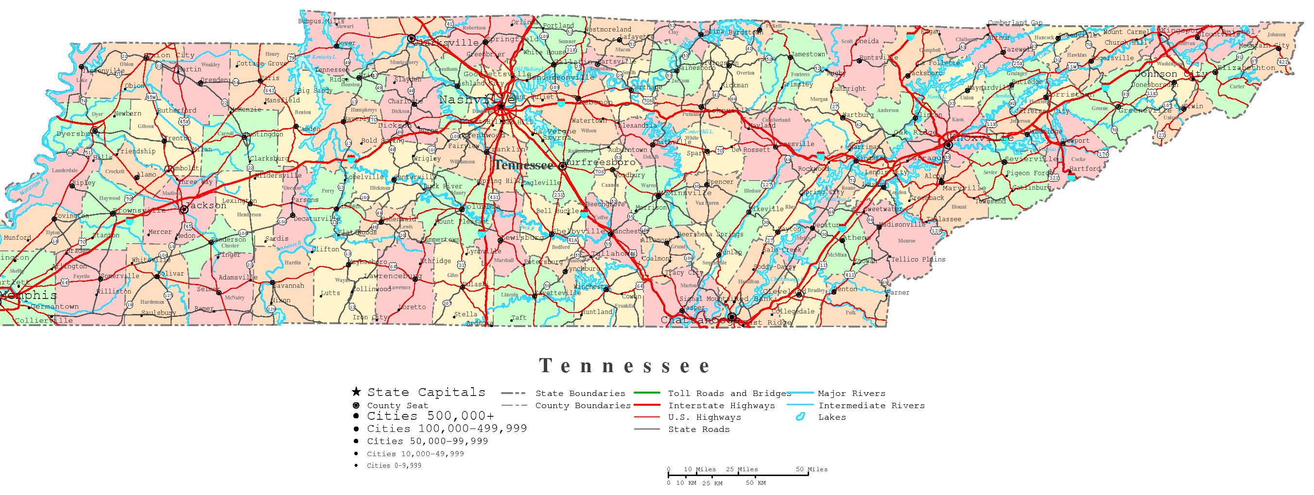 Tennessee Printable Map - Us map with cities and rivers