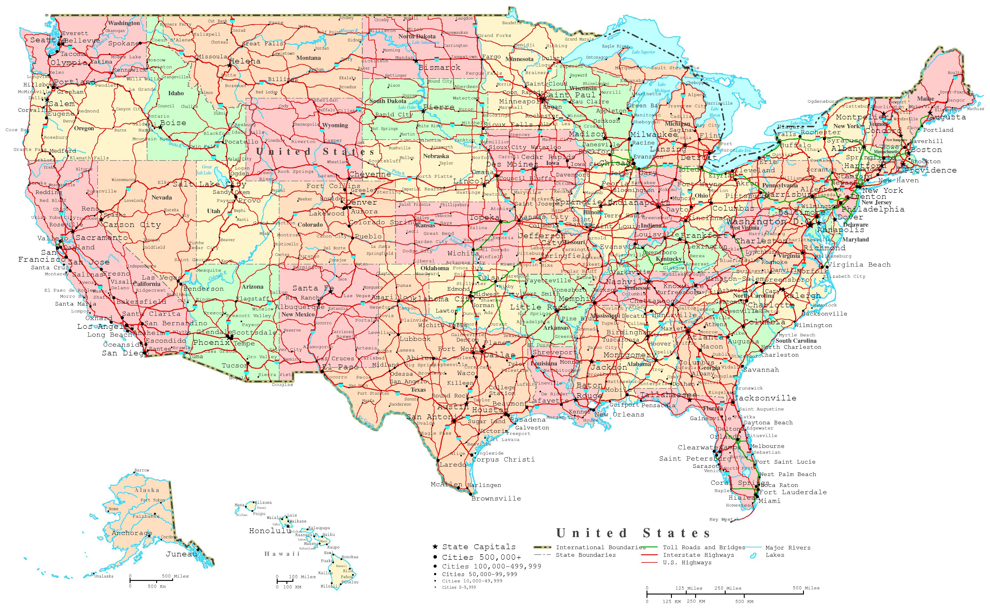 Us Map With All Cities   MAP of US