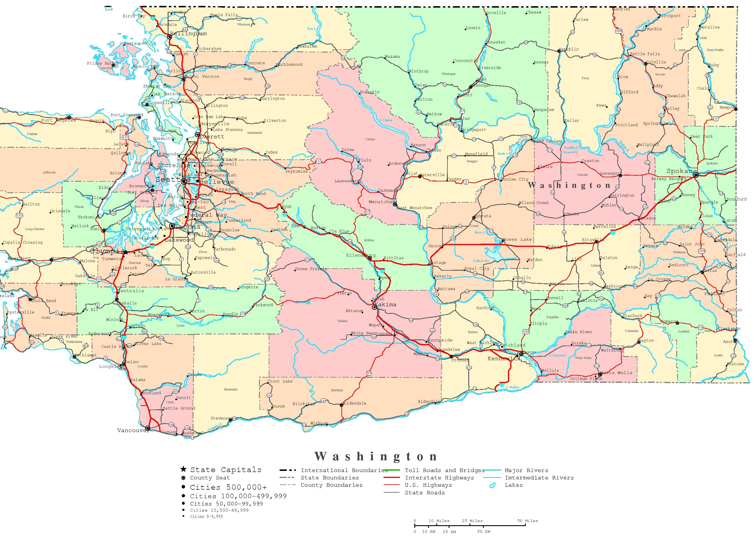 Washington State Map Seattle.Washington Printable Map