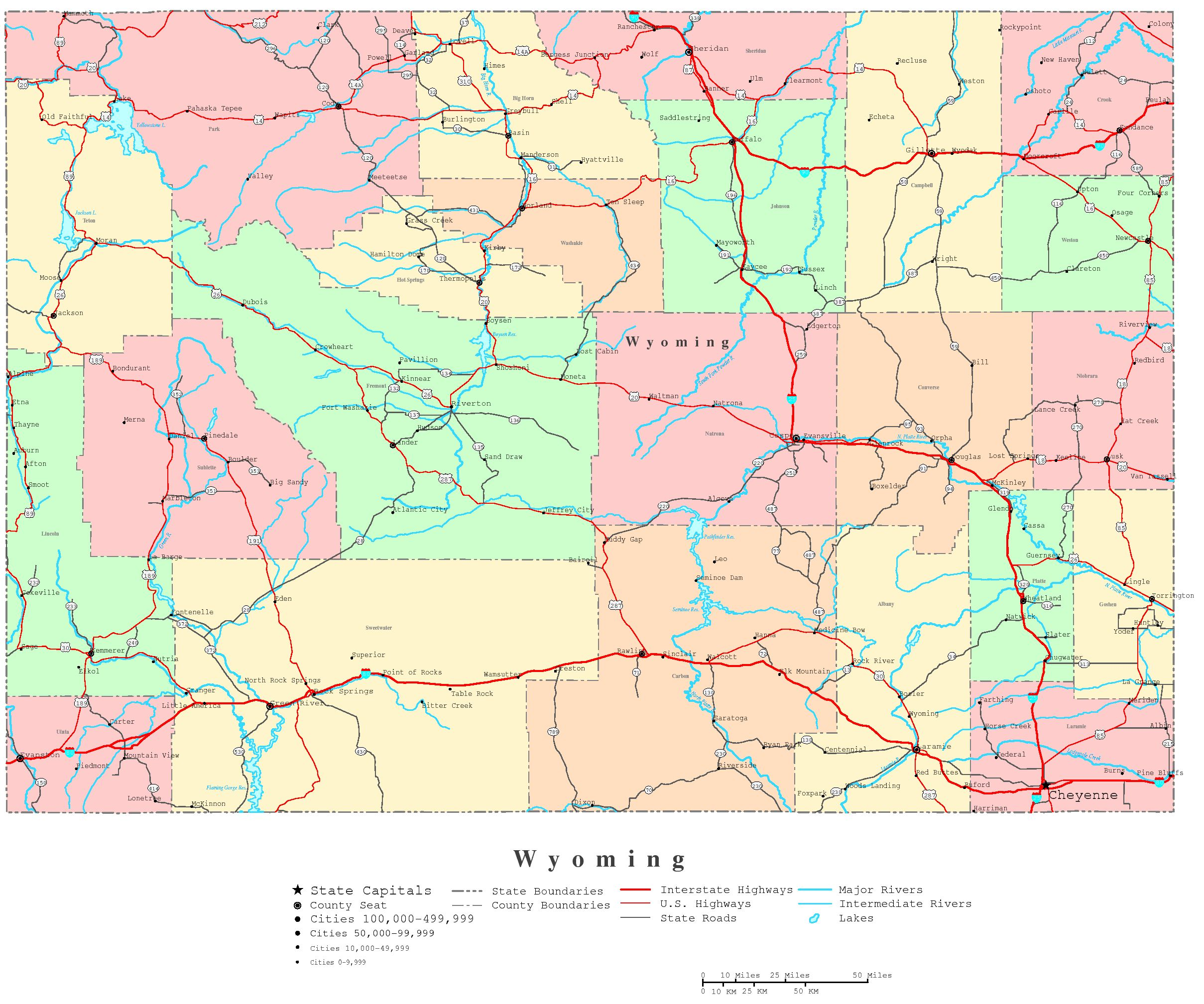 Wyoming Printable Map - Cities in wyoming map