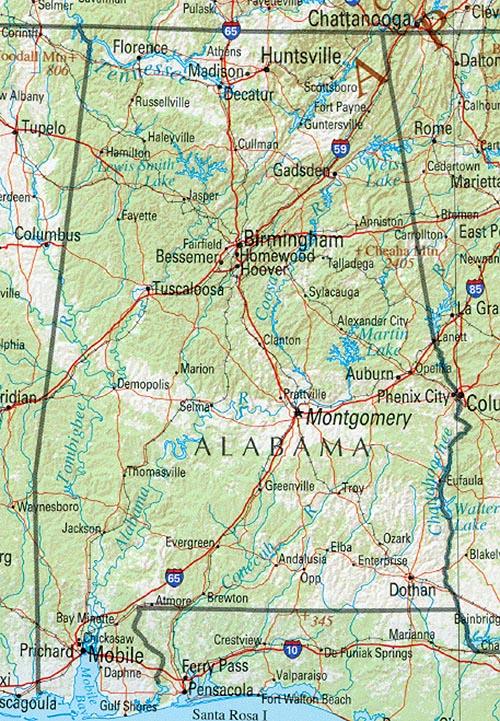 picture regarding Printable Map of Alabama titled Alabama Reference Map