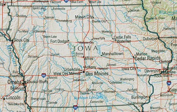 photograph regarding Printable Map of Iowa titled Iowa Reference Map