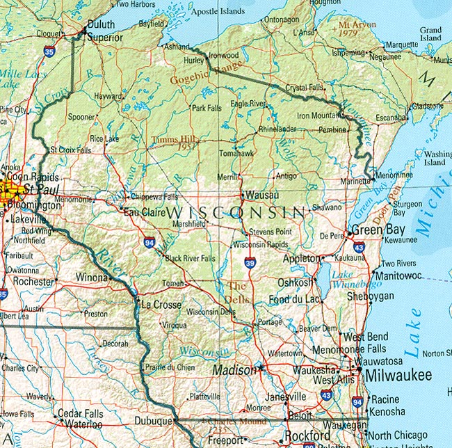 Wisconsin Reference Map - Wisconsin state map of us