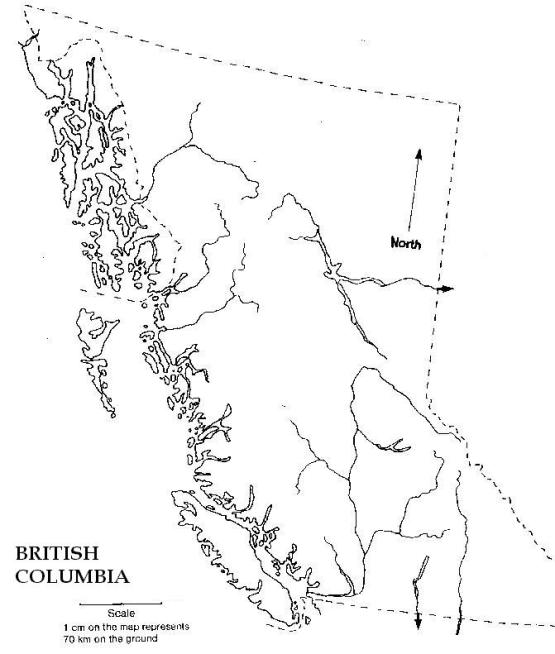 blank map of British Columbia province, BC outline map