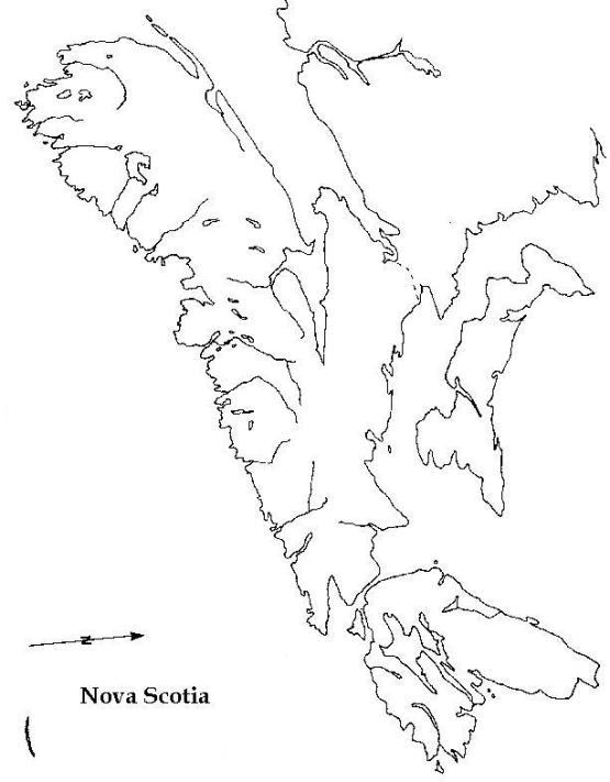 blank map of Nova Scotia province, NS empty map