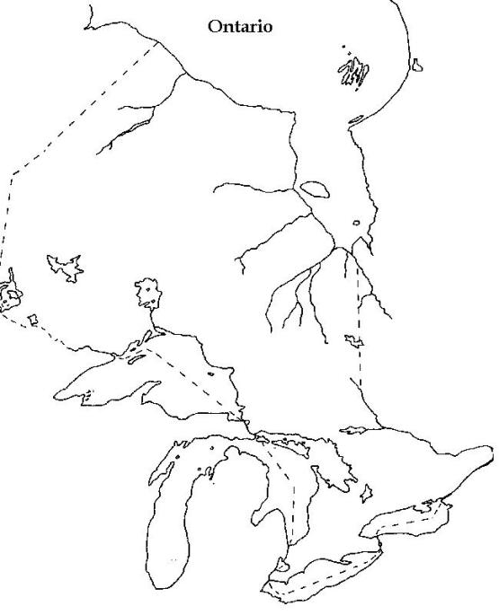 blank map of Ontario province, ON outline map