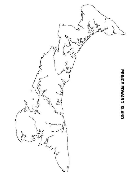 blank map of Prince Edward Island province, PE empty map