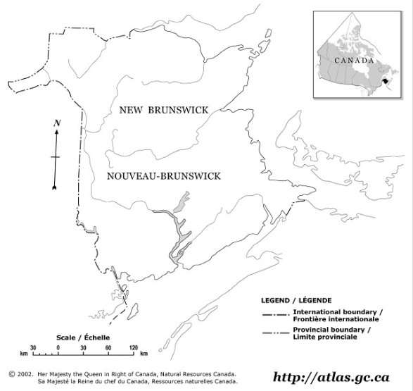 blank map of New Brunswick province, NB outline map