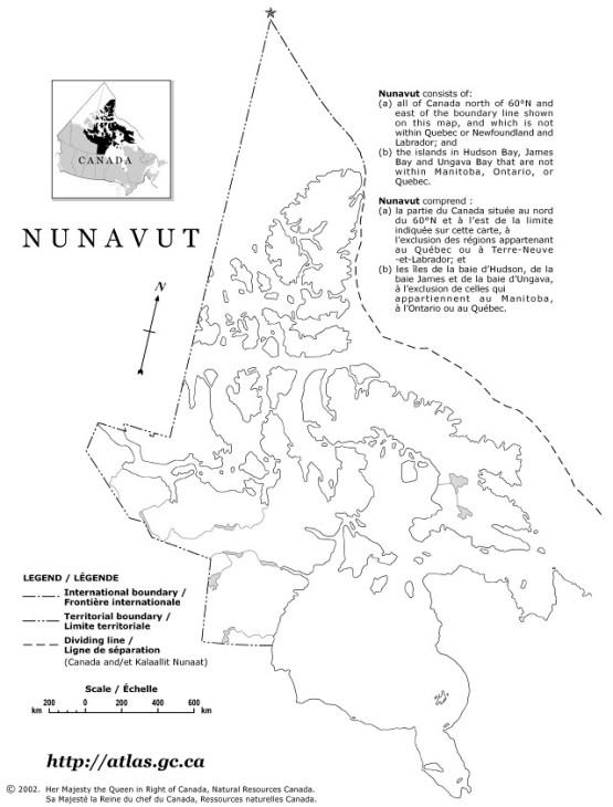 blank map of Nunavut territory, NU empty map