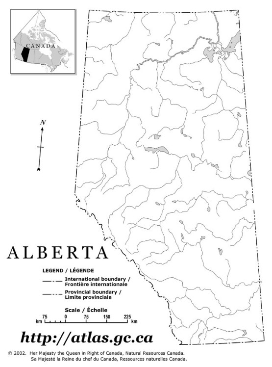 outline map of Alberta province, AB government map