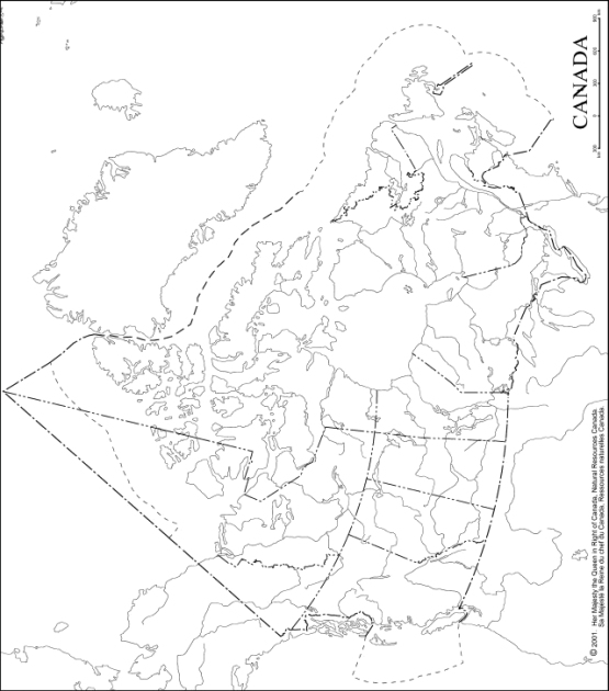 outline map of Canada provinces, CAN government map