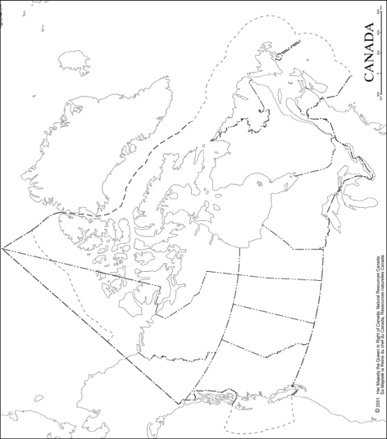 outline map of Canada provinces, CAN blank map