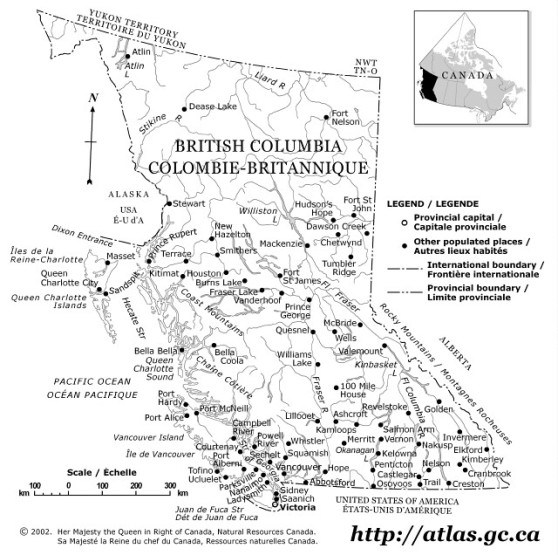 outline map of British Columbia province, BC province map