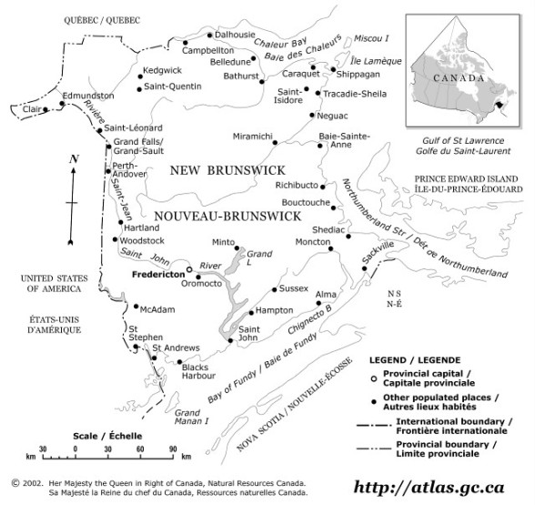 outline map of New Brunswick province, NB province map
