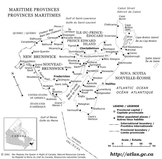 outline map of Maritime Provinces province, NB government map